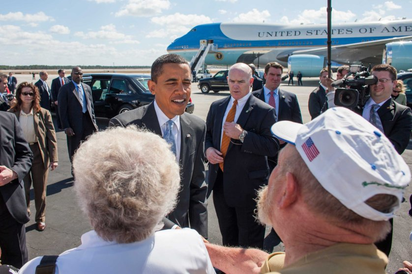 President Barack Obama greets supporters at the airport Fort Meyers, Florida.Photo by Brooks Kraft/Corbis