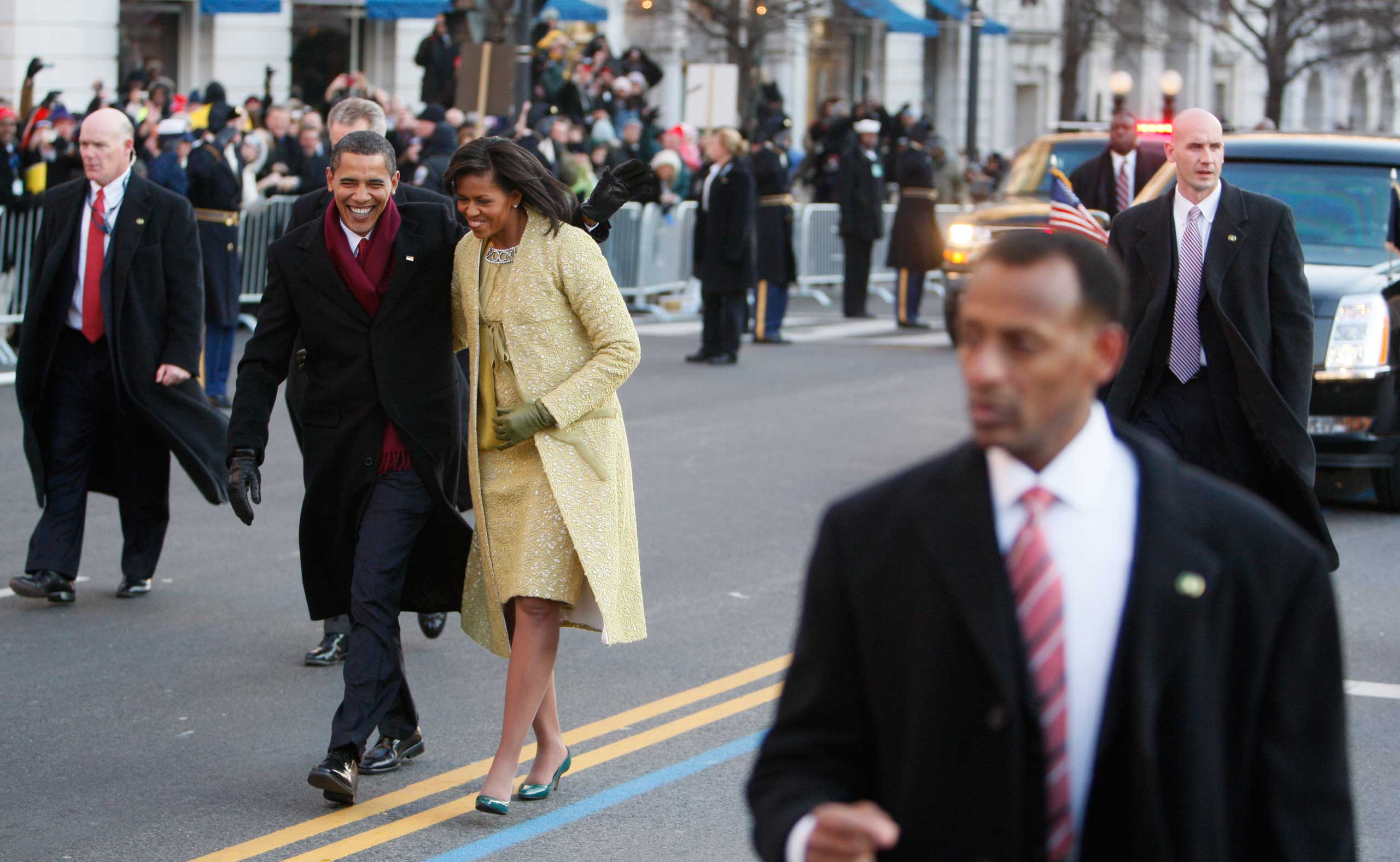 Blink and you might miss him, but here's Clancy again, flanking President Obama and first lady Michelle Obama as they wave to crowds along the inaugural parade route in Washington D.C. on Jan. 20, 2009.
