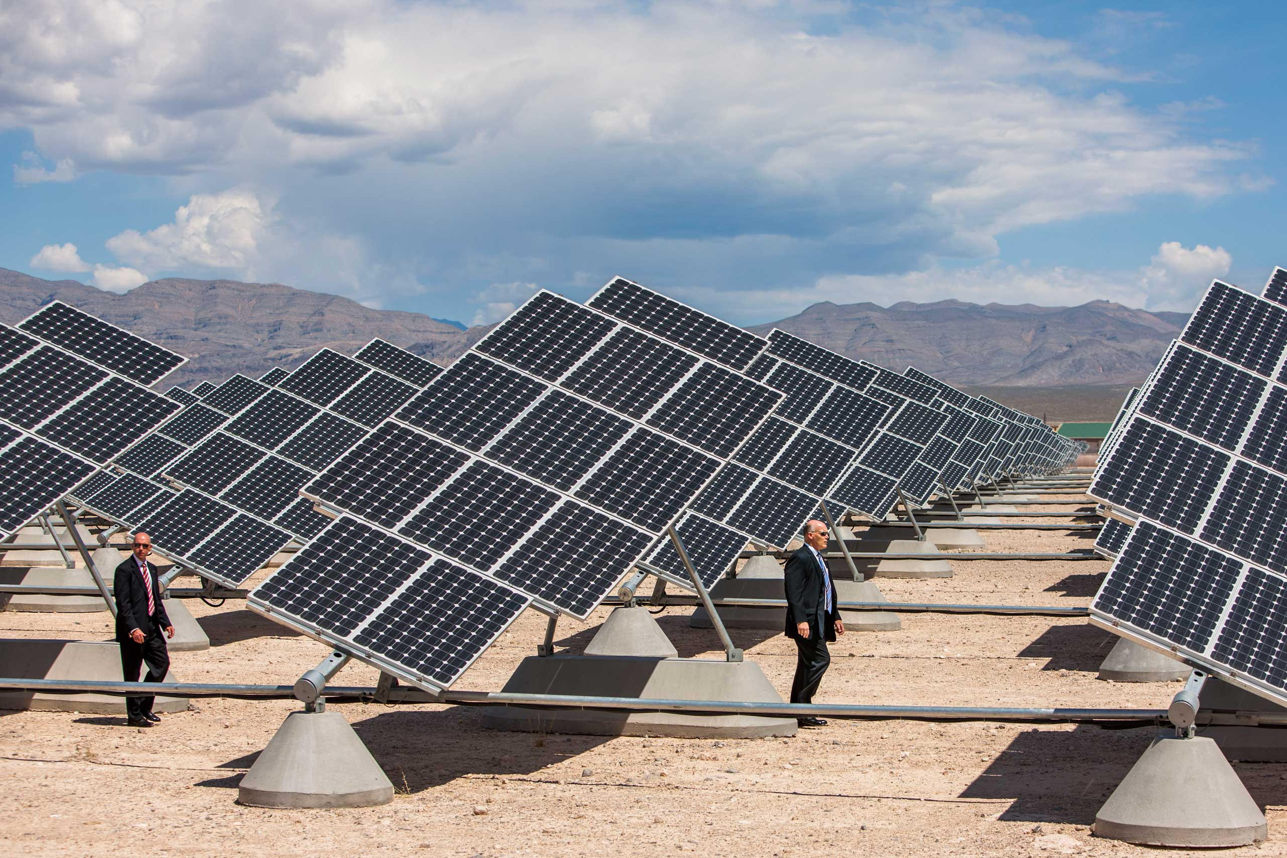 Solar panels make good camouflage as Clancy and another Secret Service agent accompany the President and Senate Majority Leader Harry Reid at Nellis Air Force Base in Nevada, on May 27, 2009.