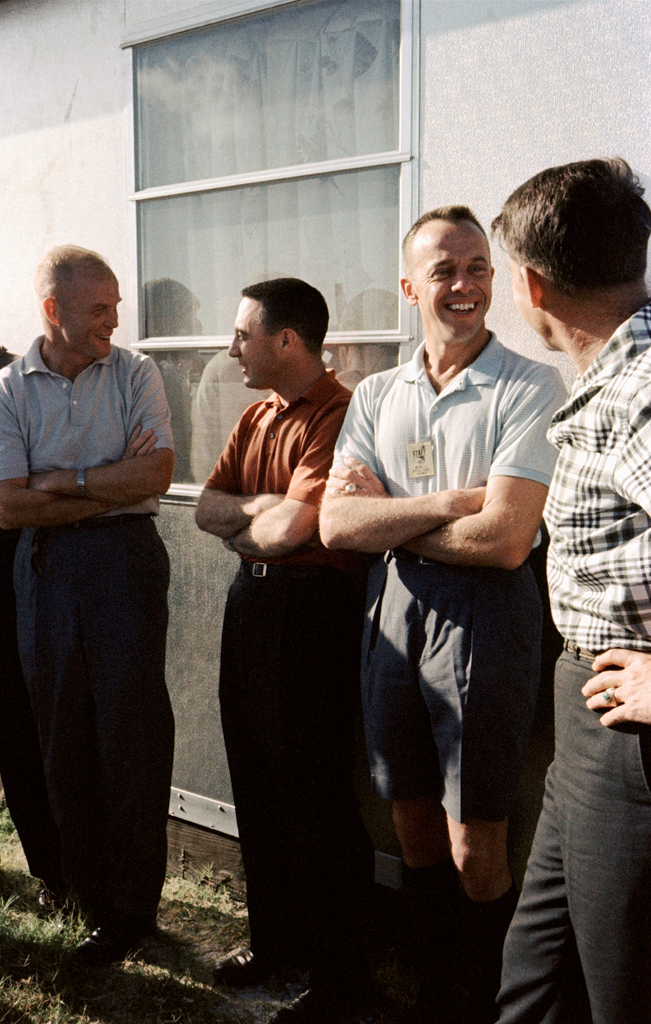 <b>Not published in LIFE. </b>Glenn, Grissom, Shepard, and Schirra relax during a photo call in the midst of Project Mercury training, 1962.