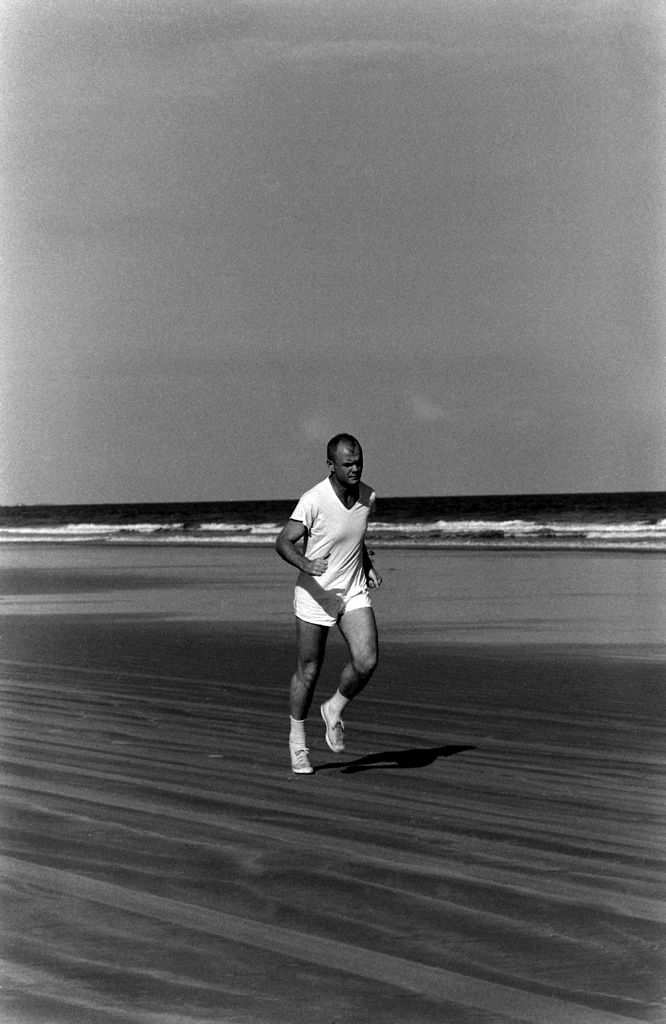 <b>Not published in LIFE. </b>John Glenn in training on the beach, Florida, 1961.