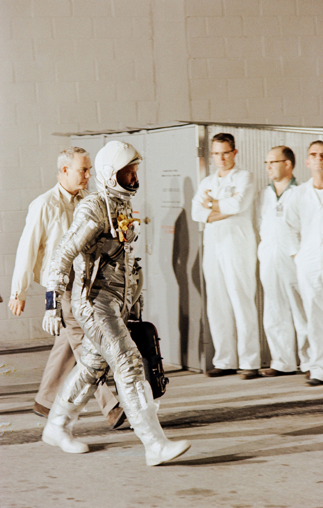 <b>Not published in LIFE. </b>Lt. Col. John Glenn walks to his spacecraft, Friendship 7, on a training exercise prior to his February 1962 orbital flight.