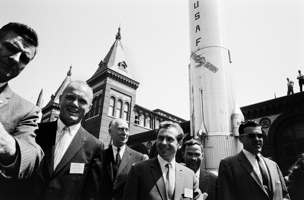 <b>Not published in LIFE.</b> John Glenn with cosmonaut German Titov (center) at the Smithsonian in Washington, DC, 1962.