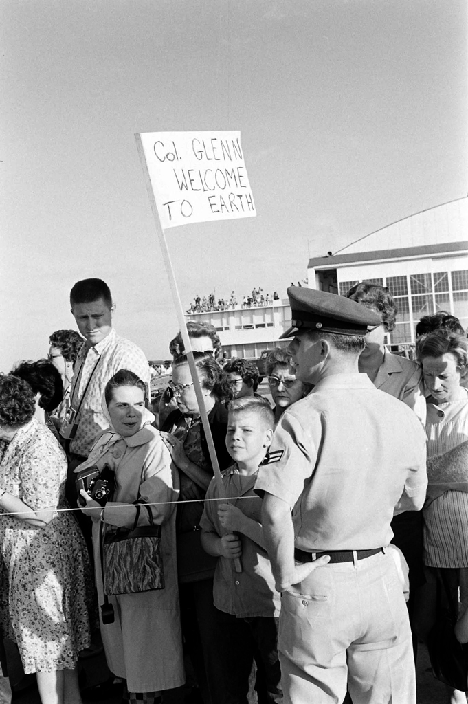 "<b>Not published in LIFE.</b> A sign honoring John Glenn outside Cape Canveral's famous ""Hangar S,"" where Mercury astronauts suited up prior to flights, February 1962."