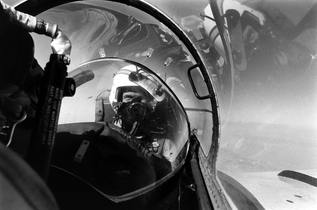 <b>Not published in LIFE.</b> A photo by LIFE's Billy Ray of Lt. Col. John Glenn flying a jet while stationed at Marine Corps Air Station El Toro, southern California, 1964.