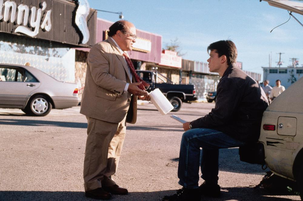 The Rainmaker, 1997 From Left: Danny DeVito as Deck Shifflet and Matt Damon as Rudy Baylor