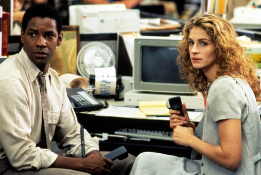 From Left: Denzel Washington and Julia Roberts in 'The Pelican Brief' in 1993.
