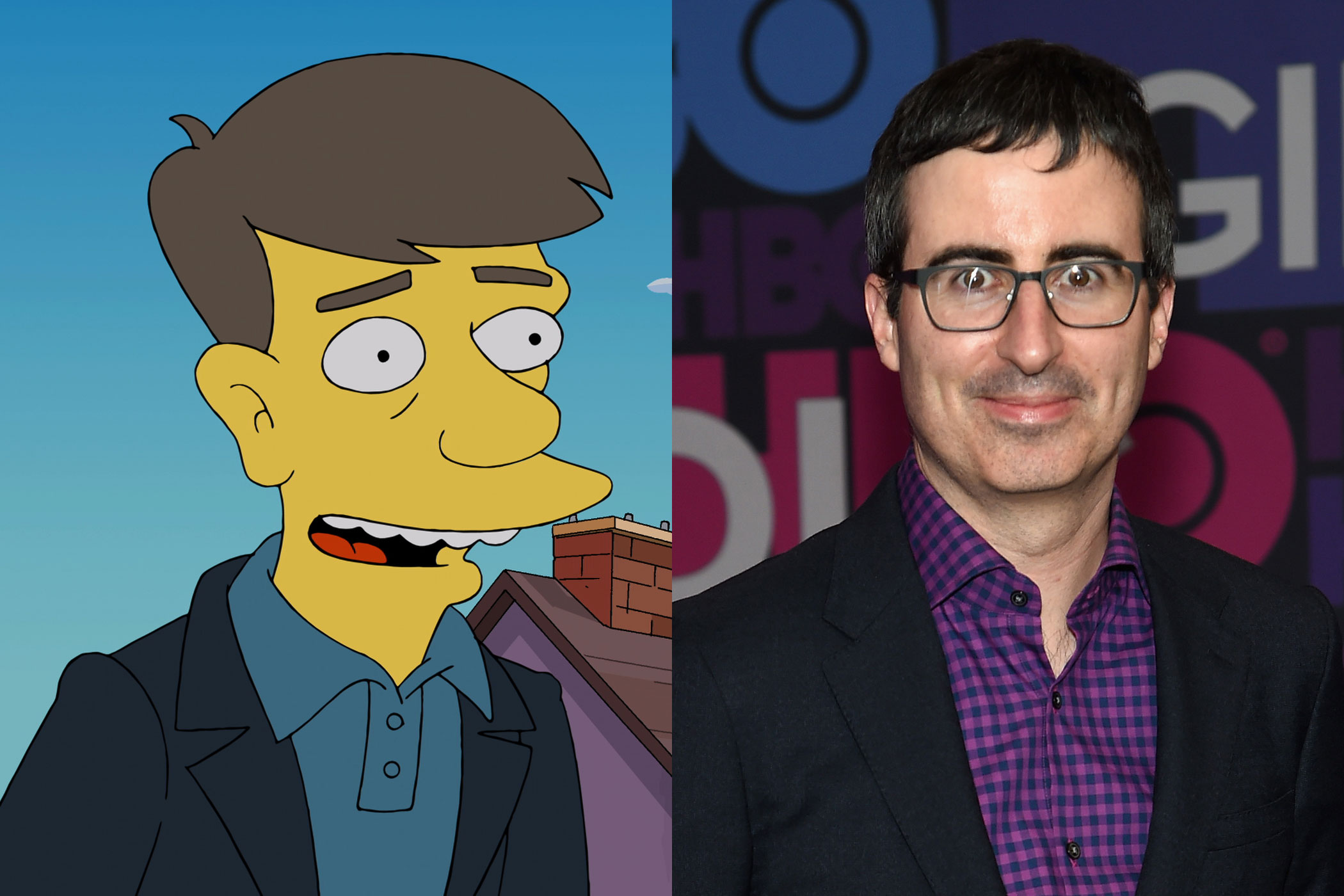 John Oliver had a brief cameo on <i>The Simpsons</i> as Booth Wilkes-John, the Simpsons' British neighbor.