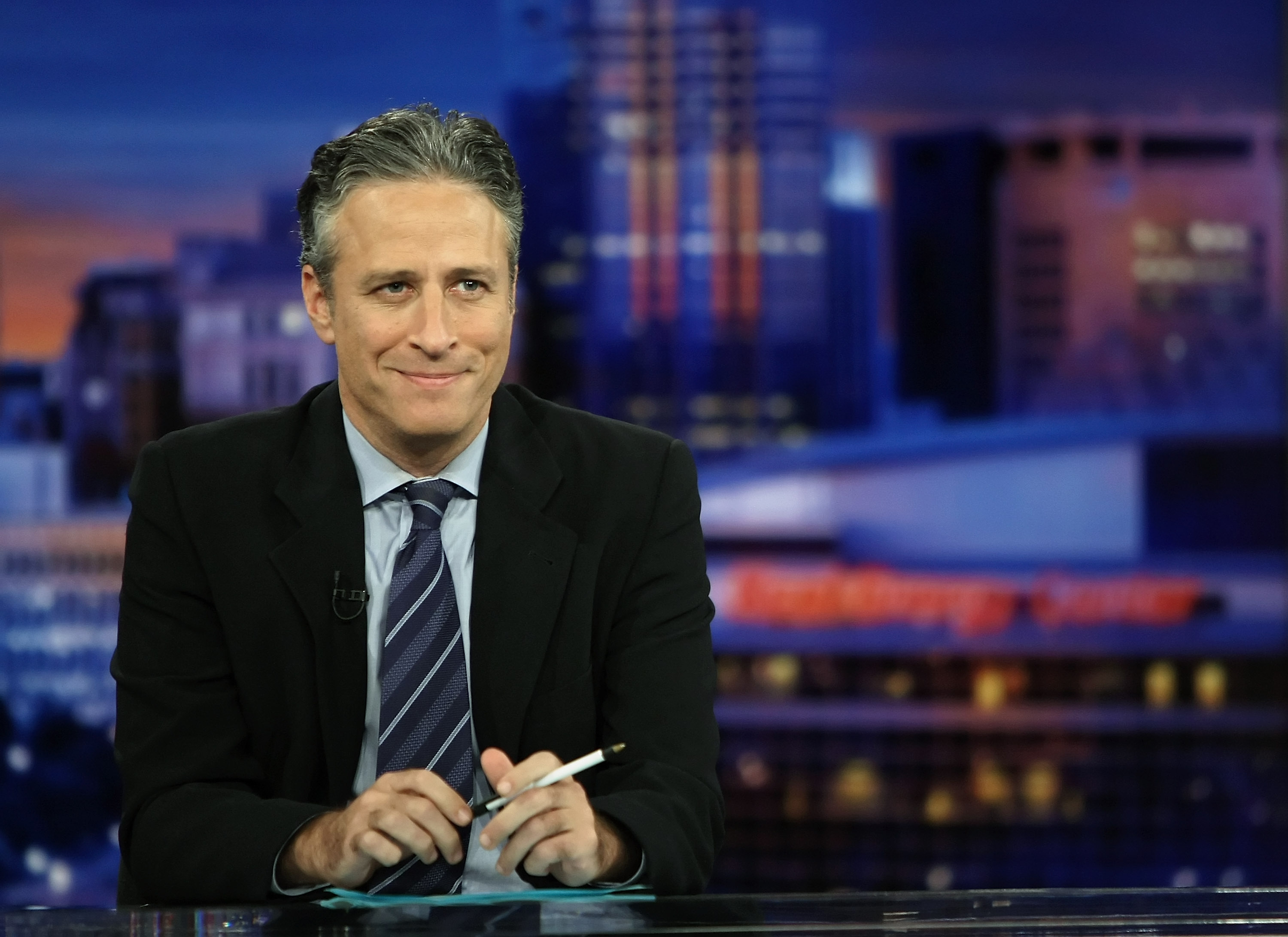 Host Jon Stewart tapes Comedy Central's  The Daily Show with Jon Stewart: Restoring Honor & Dignity to the White House  at the McNally Smith College of Music on Sept. 5, 2008 in St. Paul, Minnesota. The show was being taped in St. Paul during the week of the Republican National Convention.