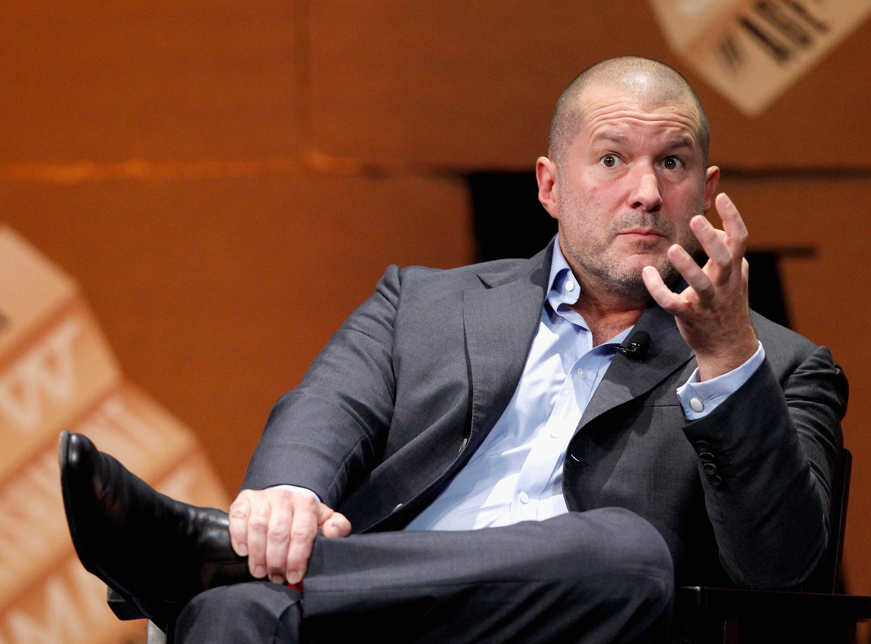 Apple Senior Vice President of Design Jonathan Ive speaks onstage during  Genius by Design  at the Vanity Fair New Establishment Summit at Yerba Buena Center for the Arts on October 9, 2014 in San Francisco, California.