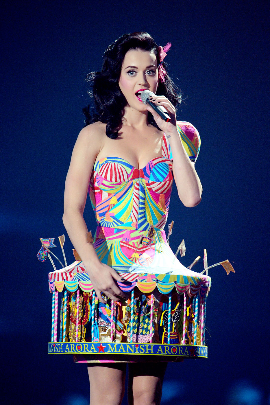 Katy Perry on stage at the 2008 MTV Europe Music Awards in Liverpool, UK.