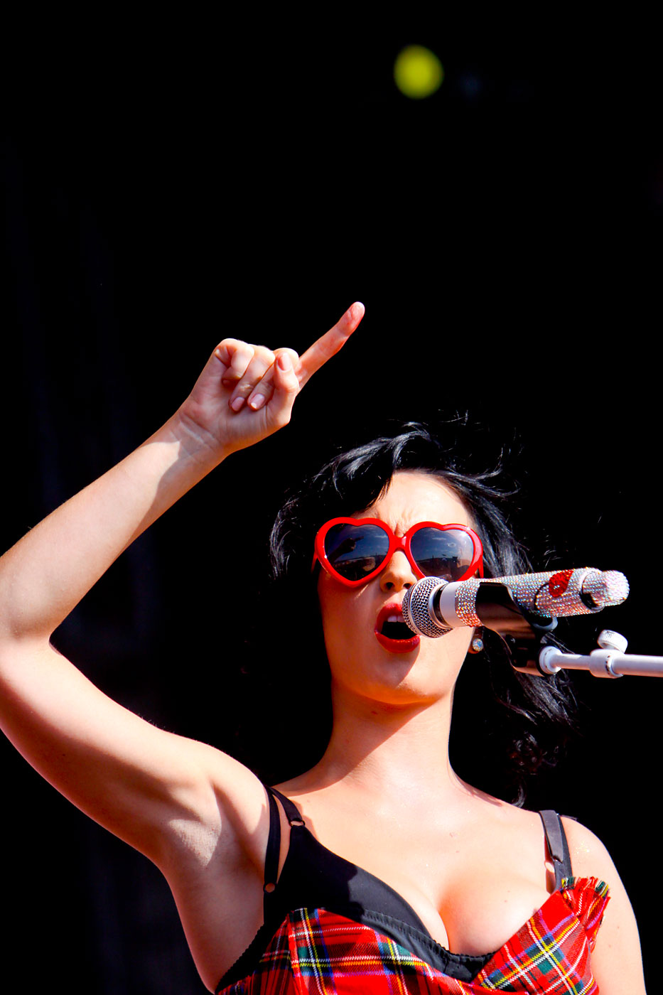 """Katy Perry performs a live concert at the """"T in the Park"""" music festival in Kinross, Scotland on July 12, 2009."""