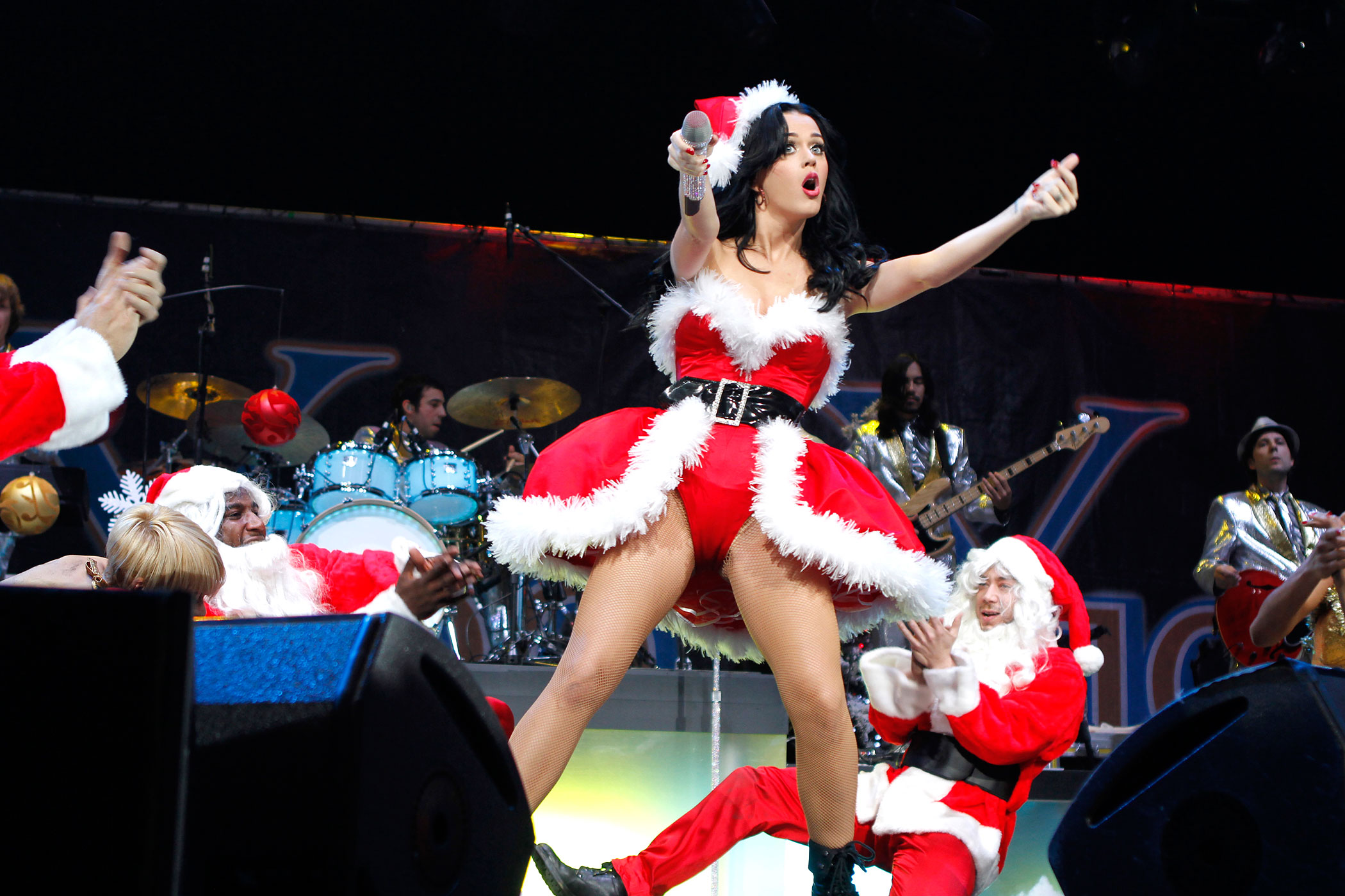 Katy Perry interacts with the crowd at the Y100 Jingle Ball Concert held at the Bank Atlantic Center in Ft. Lauderdale, FL. December 11, 2010.