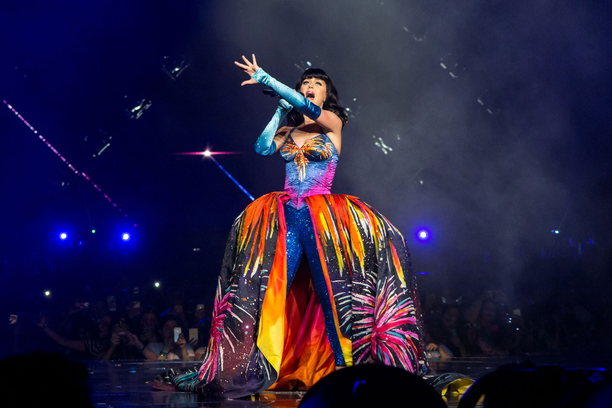 Perry shows an impressive array of colors during the Prismatic tour at Staples Center on Saturday, September 20, 2014 in Los Angeles, Calif.