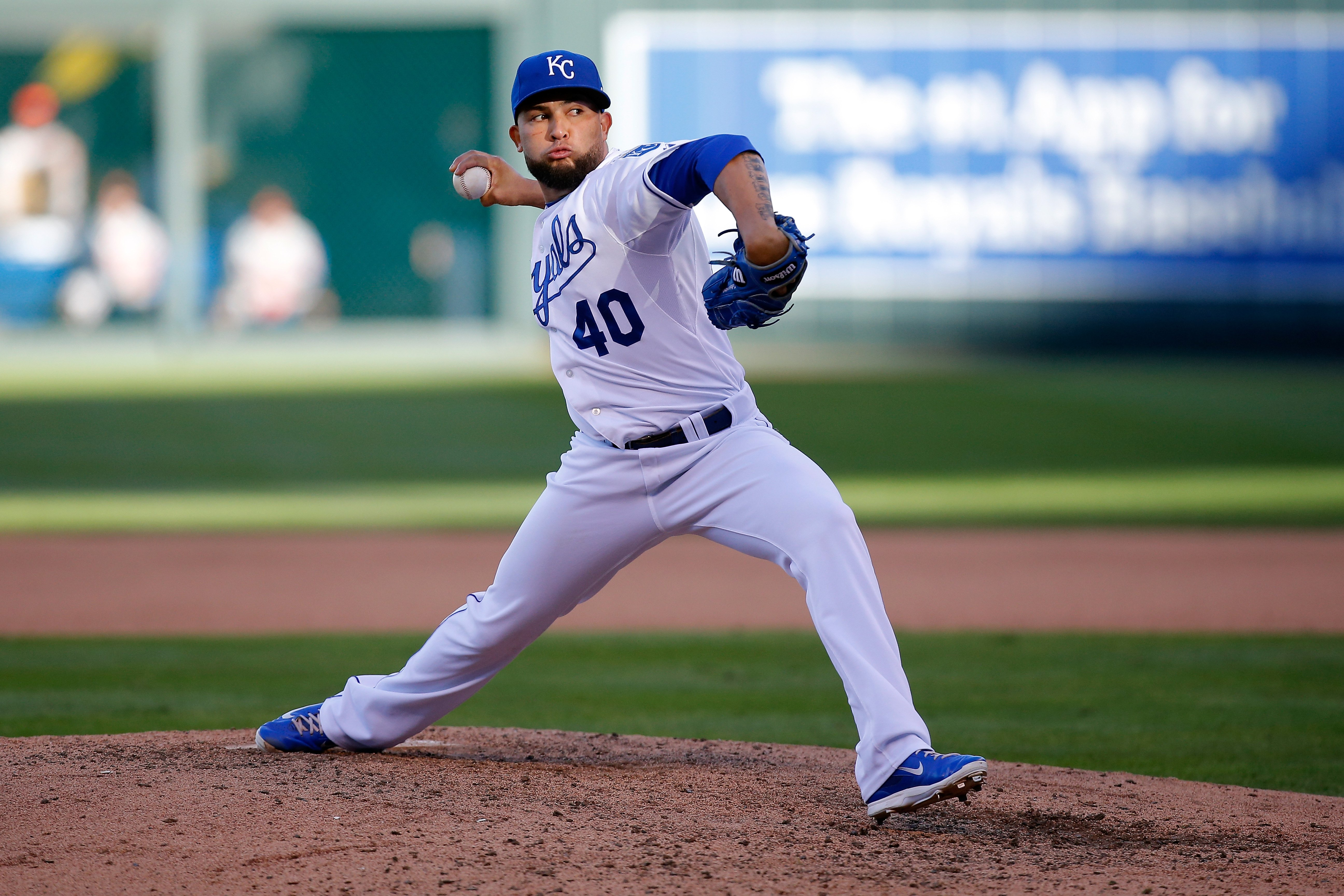 Kelvin Herrera of the Kansas City Royals throws a pitch in the sixth inning against the Baltimore Orioles during Game Four of the American League Championship Series at Kauffman Stadium on Oct. 15, 2014 in Kansas City, Missouri.
