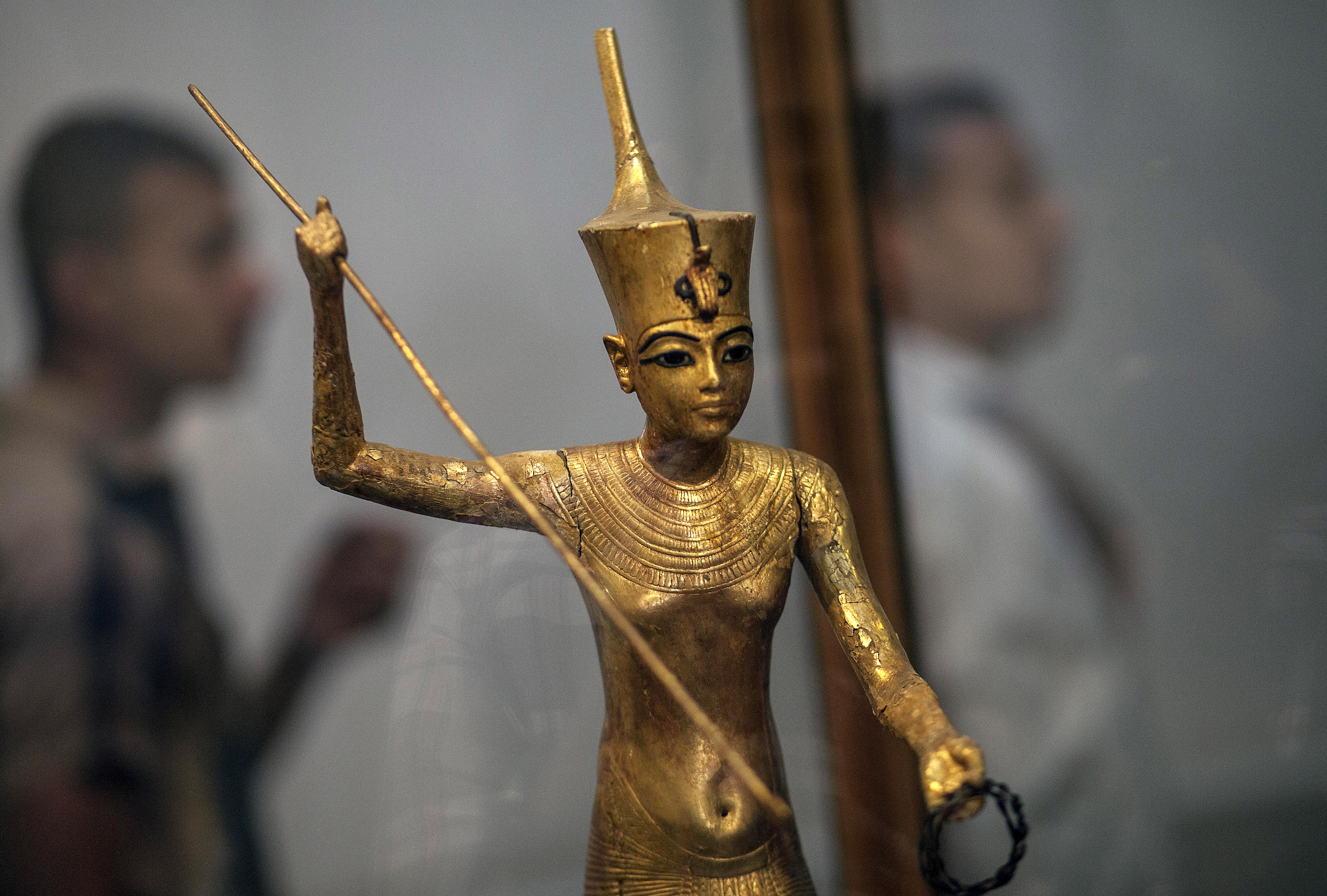 A picture taken on Sept. 30, 2013, shows a statue of the 18th Dynasty King Tutankhamun displayed at the Egyptian Museum in Cairo