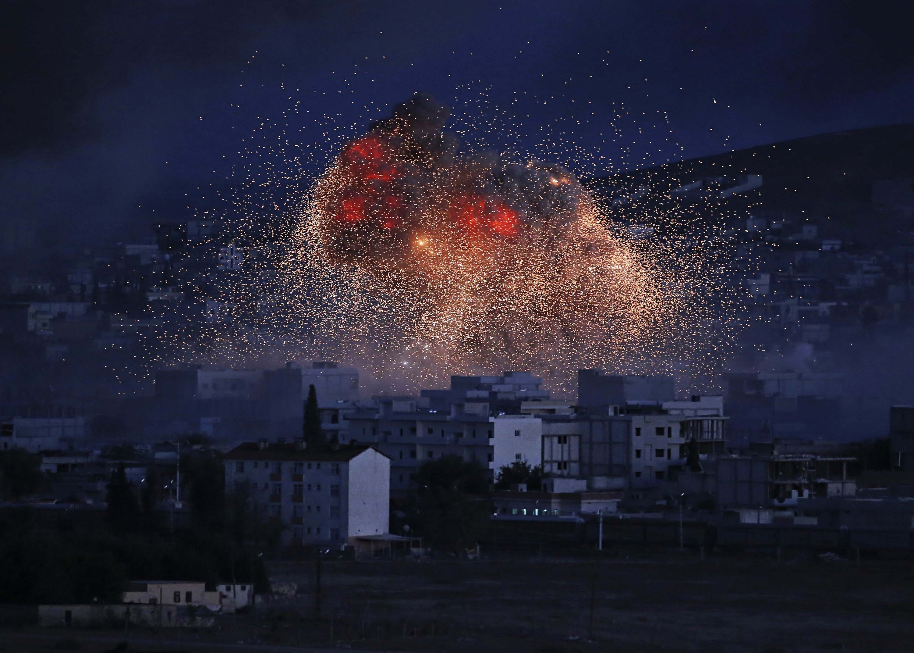 A U.S.-led coalition air strike over the town of Kobani, where Kurds are battling ISIS