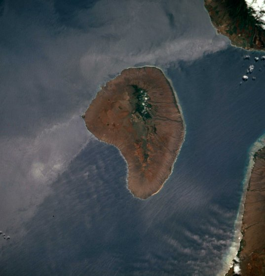 The Hawaiian island of Lanai is pictured in NASA satellite handout image