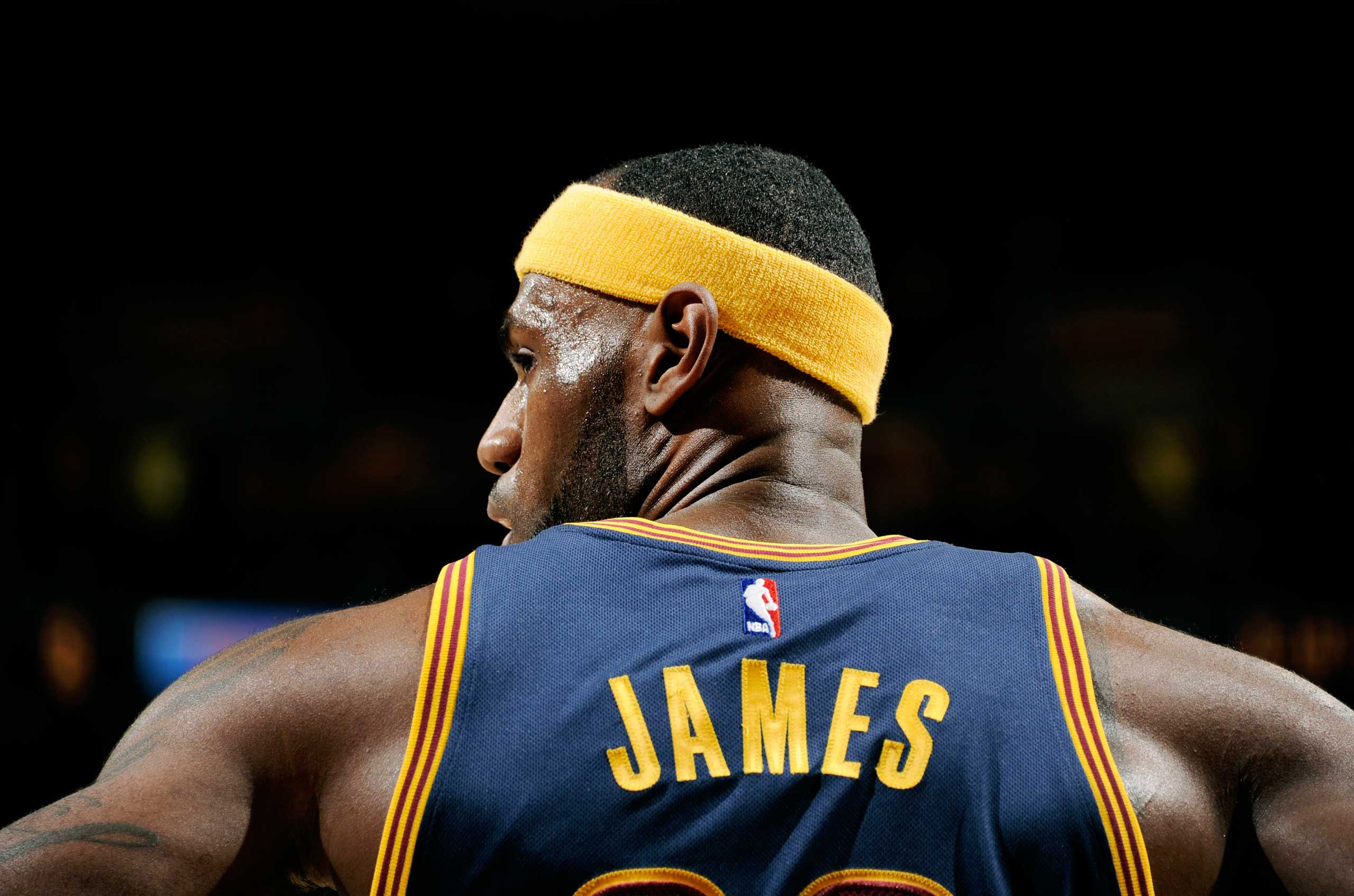 LeBron James #23 of the Cleveland Cavaliers stands on the court during a game against the New York Knicks on Oct. 30, 2014 in Cleveland, Ohio.