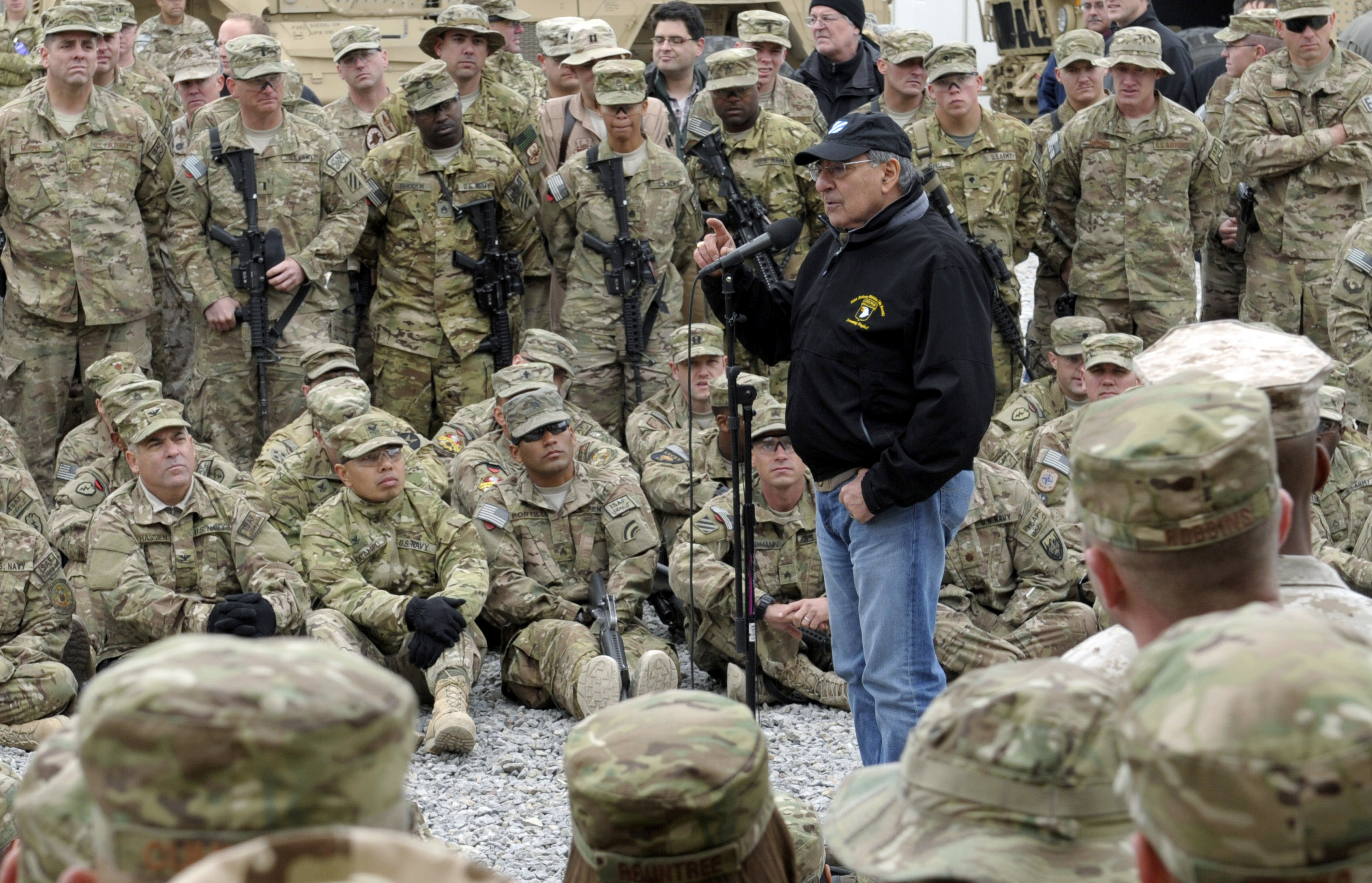 U.S. Defense Secretary Leon Panetta speaks to the troops during a visit to Kandahar Airfield on Dec. 13, 2013 in Kandahar, Afghanistan.