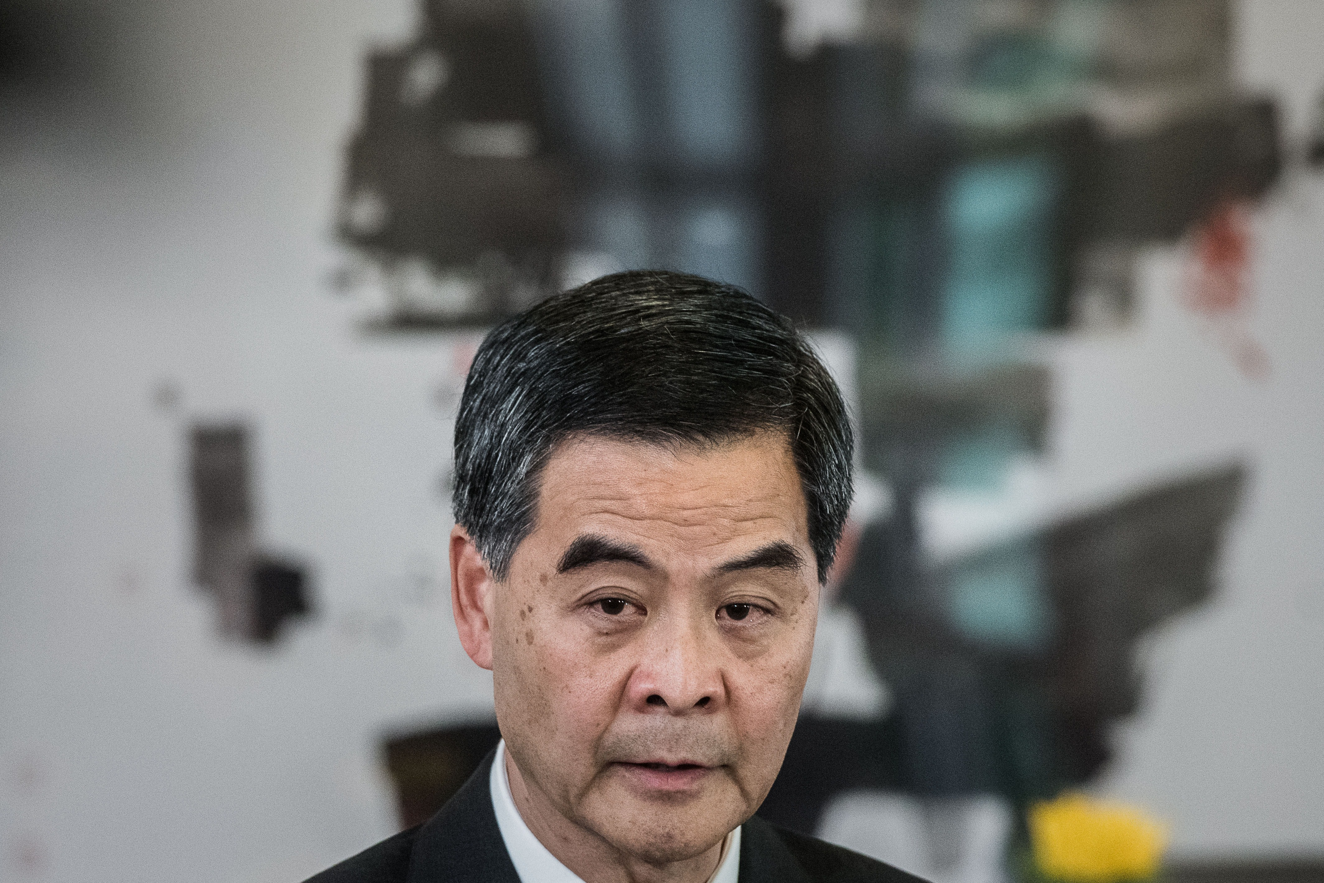 Hong Kong Chief Executive Leung Chun-ying answers questions during a press conference in Hong Kong on Oct. 16, 2014