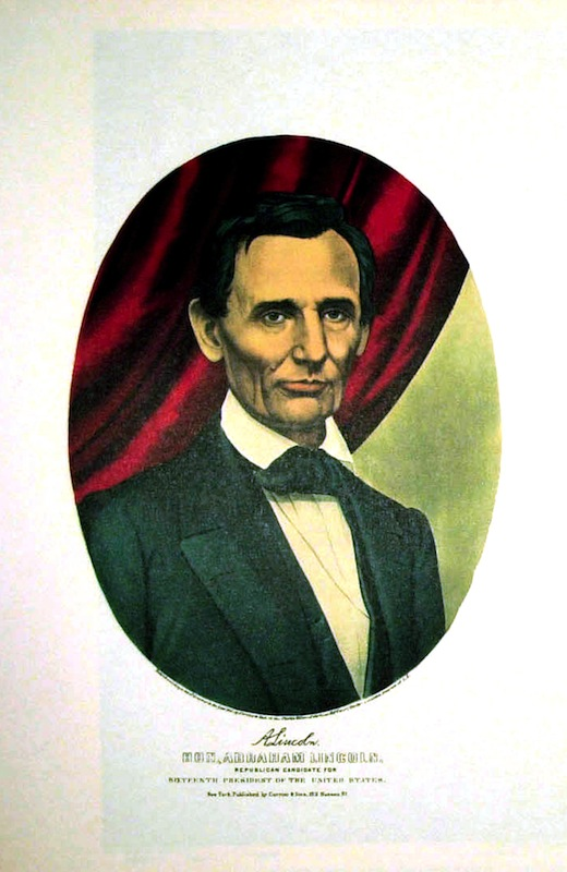 A beardless Lincoln by Currier and Ives