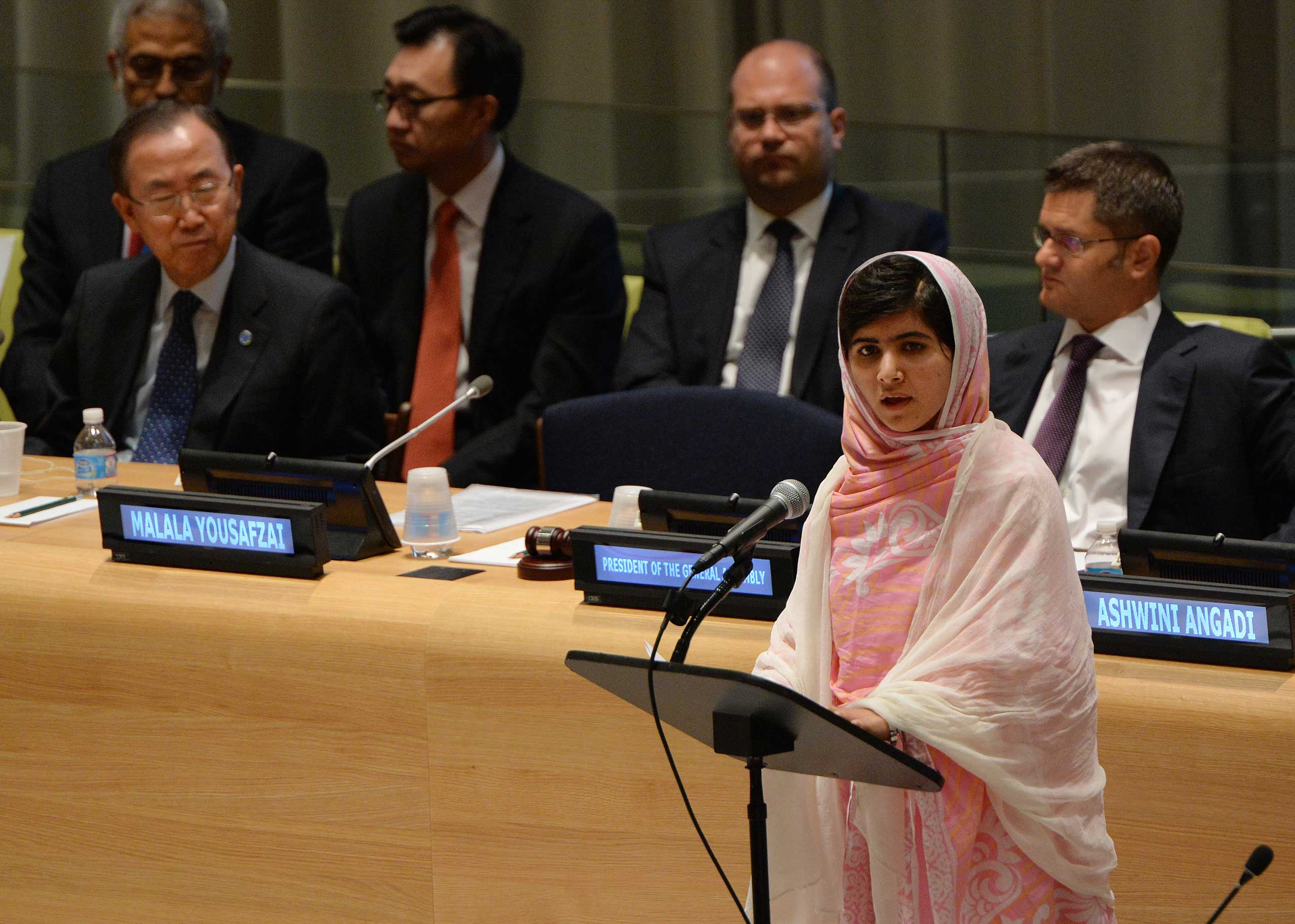 Pakistani student Malala Yousafzai speaks before the United Nations Youth Assembly in New york on July 12, 2013.