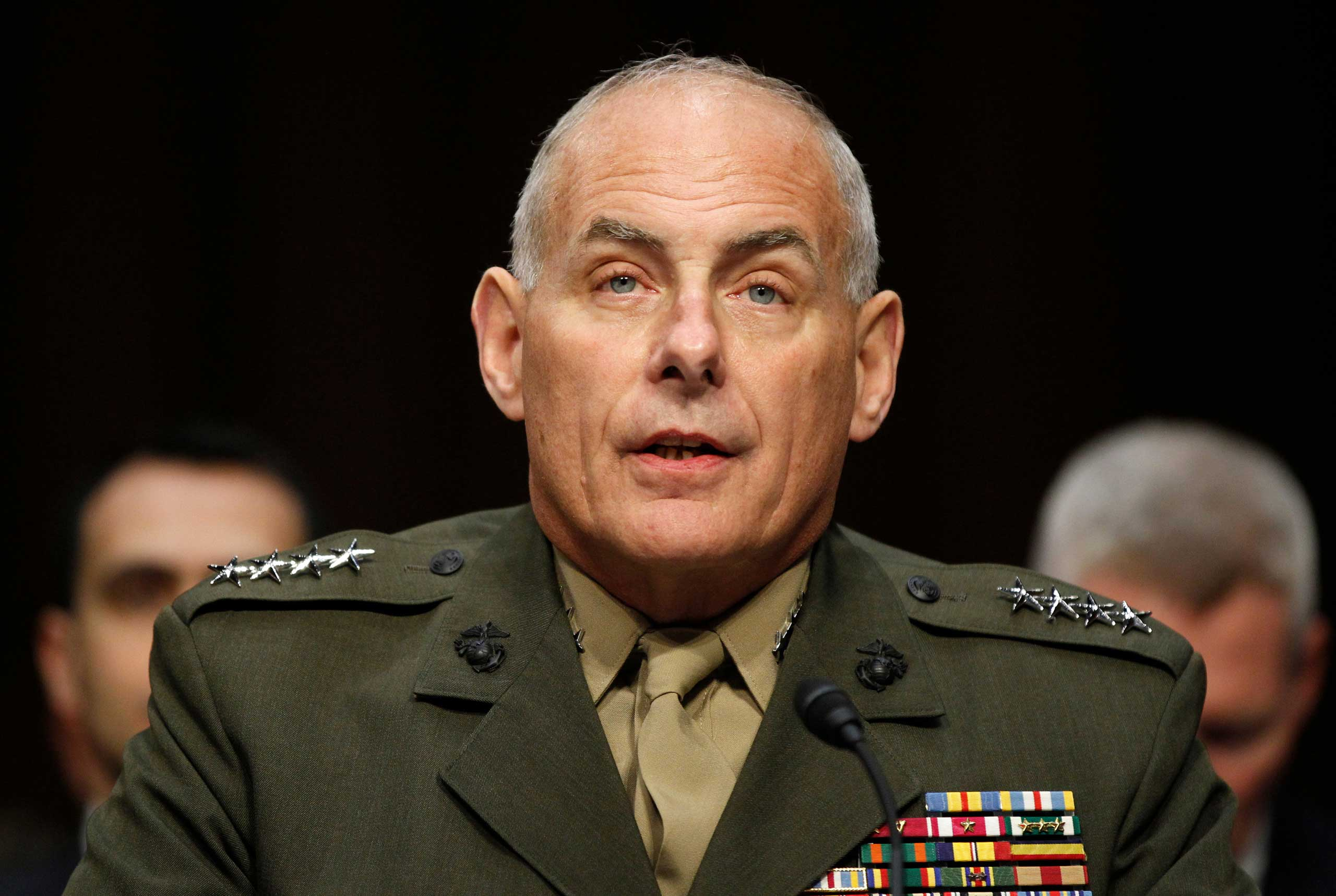 US Marine Gen. John F. Kelly, commander, U.S. Southern Command testifies on Capitol Hill in Washington, Tuesday, March 19, 2013, before the Senate Armed Services Committee hearing on U.S. European Command, U.S. Northern Command, and U.S. Southern Command in review of the Defense Authorization Request for Fiscal Year 2014.
