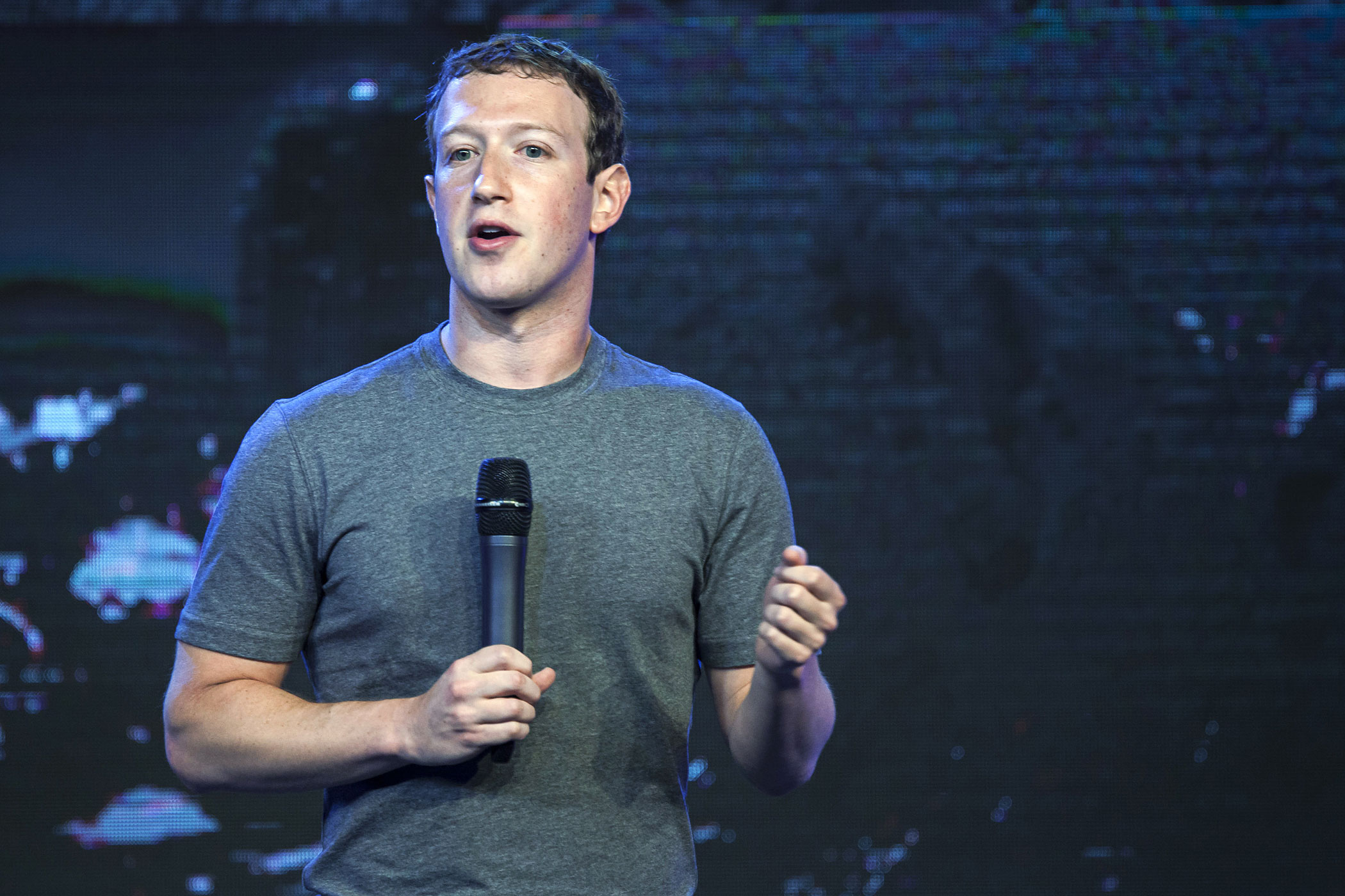 Mark Zuckerberg, chief executive officer of Facebook Inc., speaks during the Internet.org summit in New Delhi, India, on Thursday, Oct. 9, 2014.