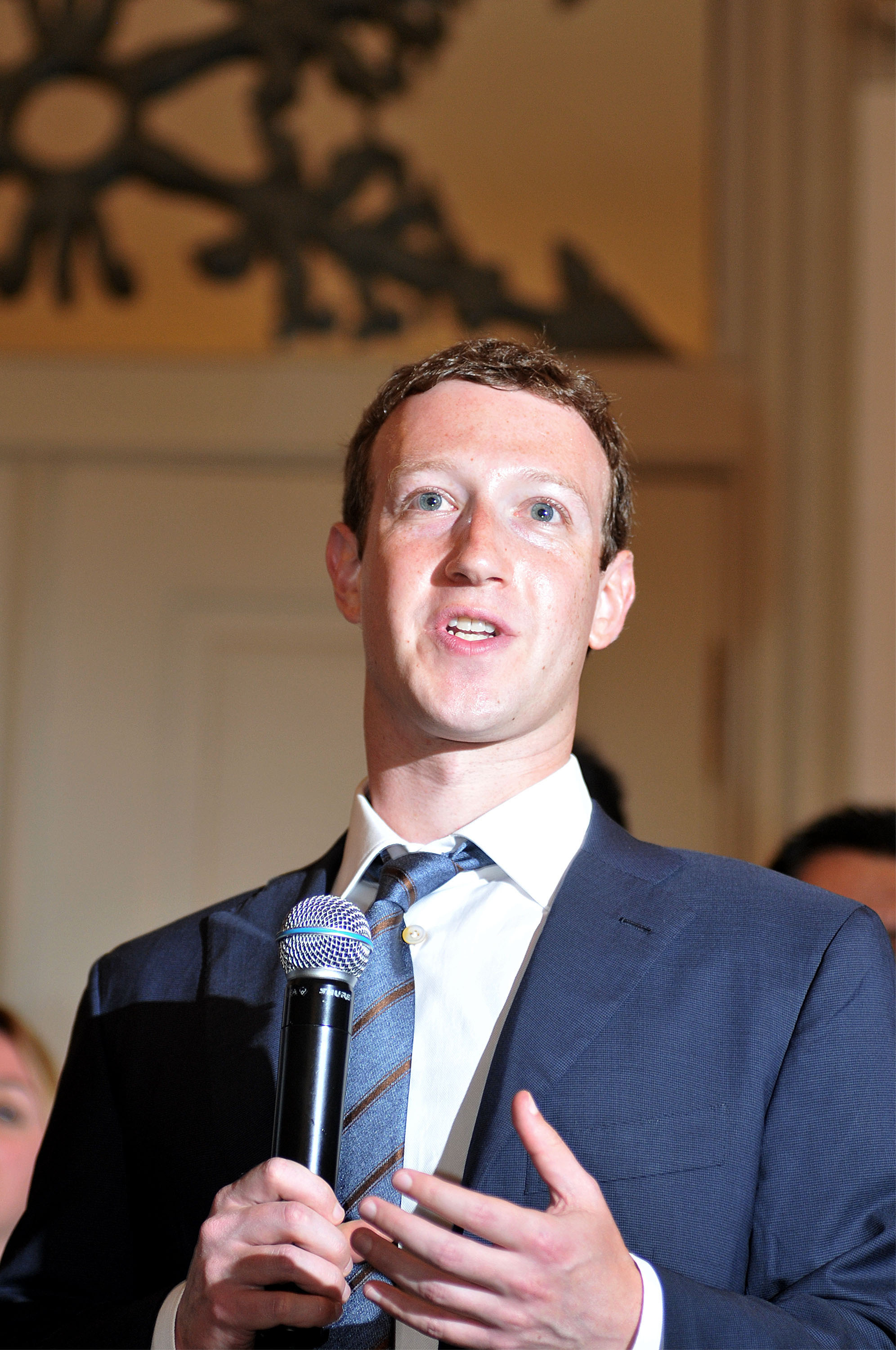 Facebook founder Mark Zuckenberg speaks to media after the meeting with Indonesian President-elect Joko Widodo in Jakarta, Indonesia on October 13, 2014.