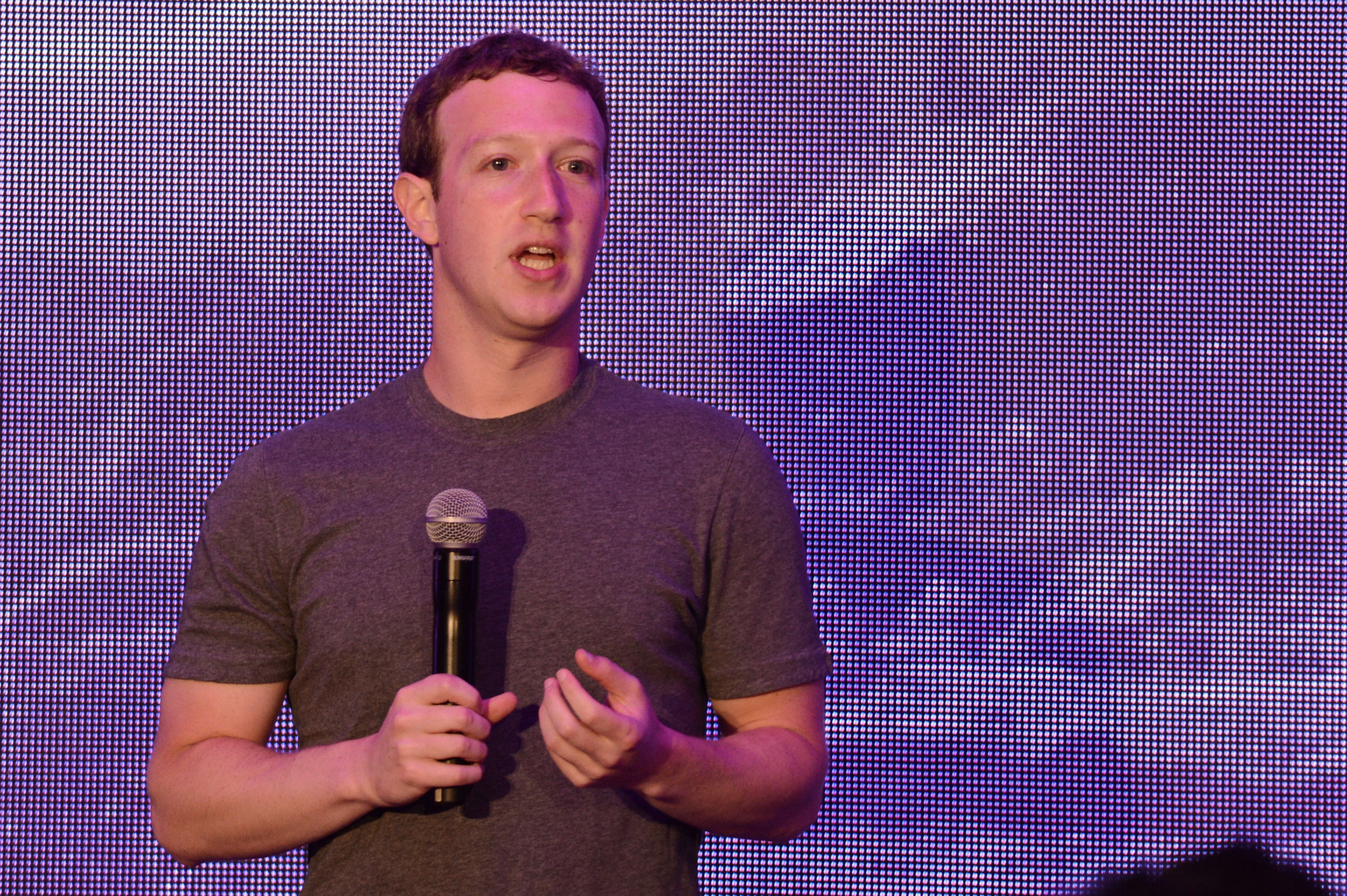 Facebook founder Mark Zuckerberg delivers a speech in Jakarta on October 13, 2014.