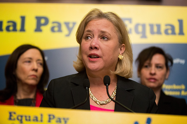 U.S. Sen. Mary Landrieu (D-LA) speaks during a press conference to urge Congress to pass the Paycheck Fairness Act, on Capitol Hill on April 1, 2014 in Washington, DC.