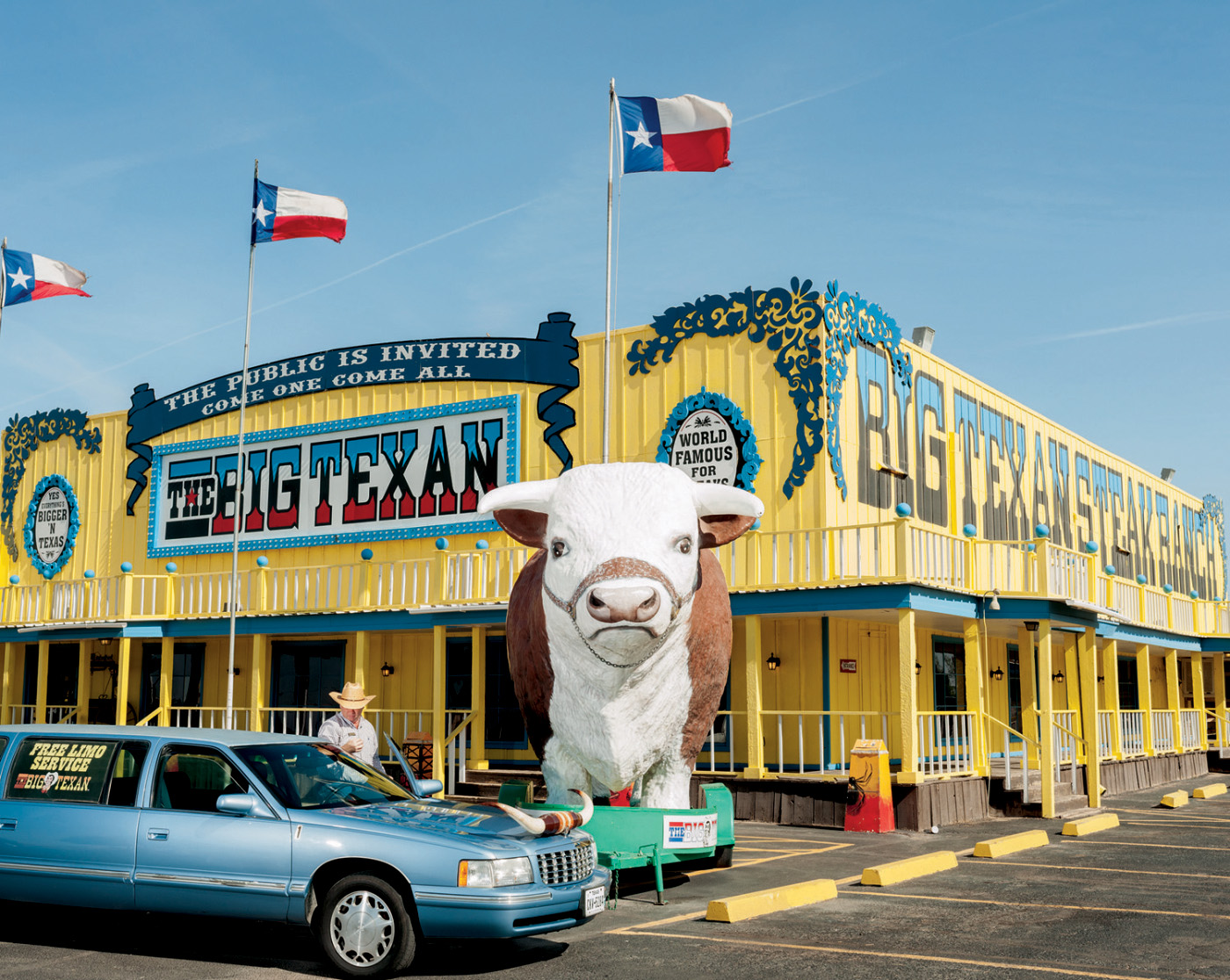 Beef is big in Texas. Last year in the state, ten times as many calves were born, 3.85 million, as human babies. At the Big Texan in Amarillo—which offers free rides in a longhorn limo—you get your 72-ounce steak for free if you finish it in under an hour, along with the shrimp cocktail, the baked potato, the salad, and the roll.