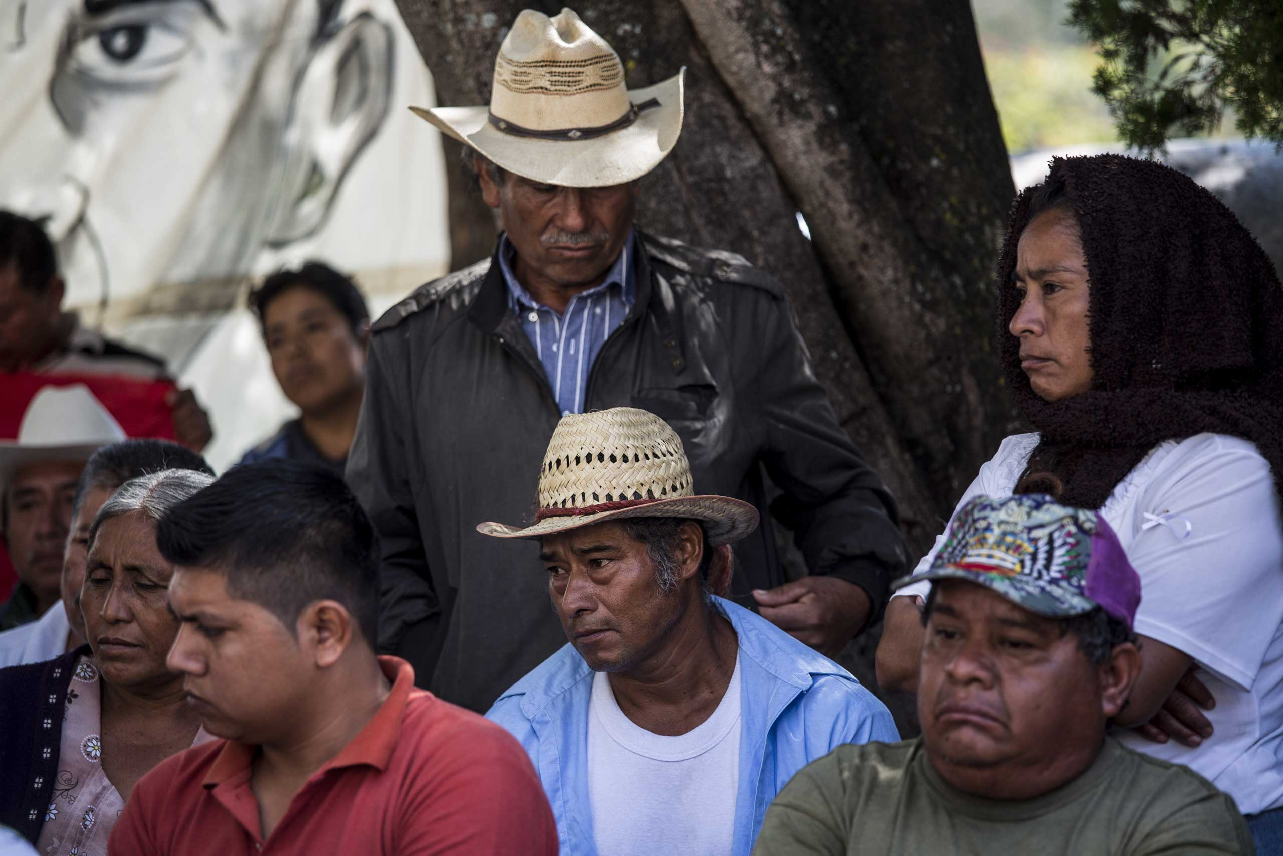 Parents of the 43 missing students meet at the teachers rural college in Ayotzinapa, in Guerrero state, Mexico, Oct. 5, 2014.