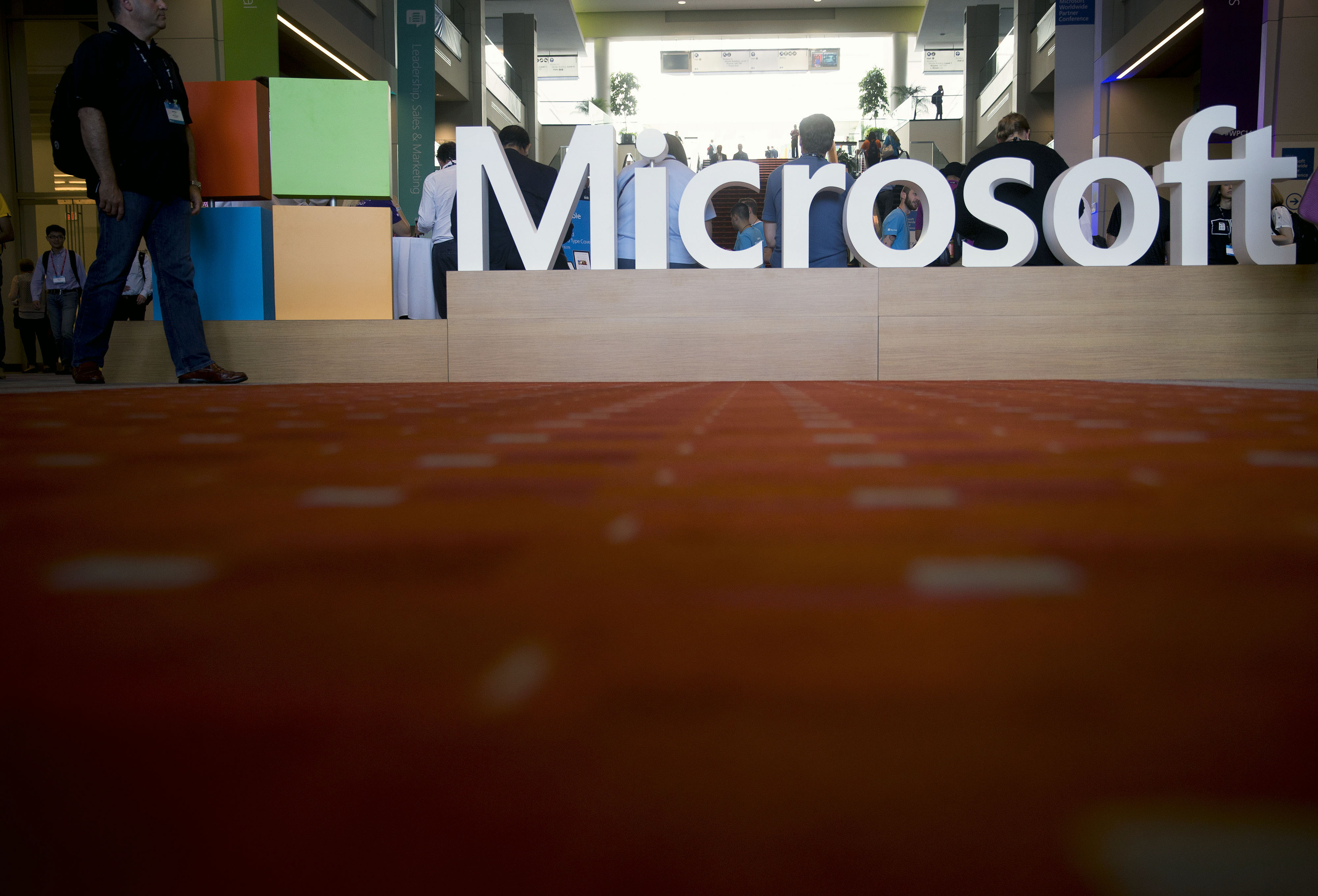 The Microsoft Corp. logo sits on display during the Microsoft Worldwide Partner Conference in Washington on July 16, 2014.