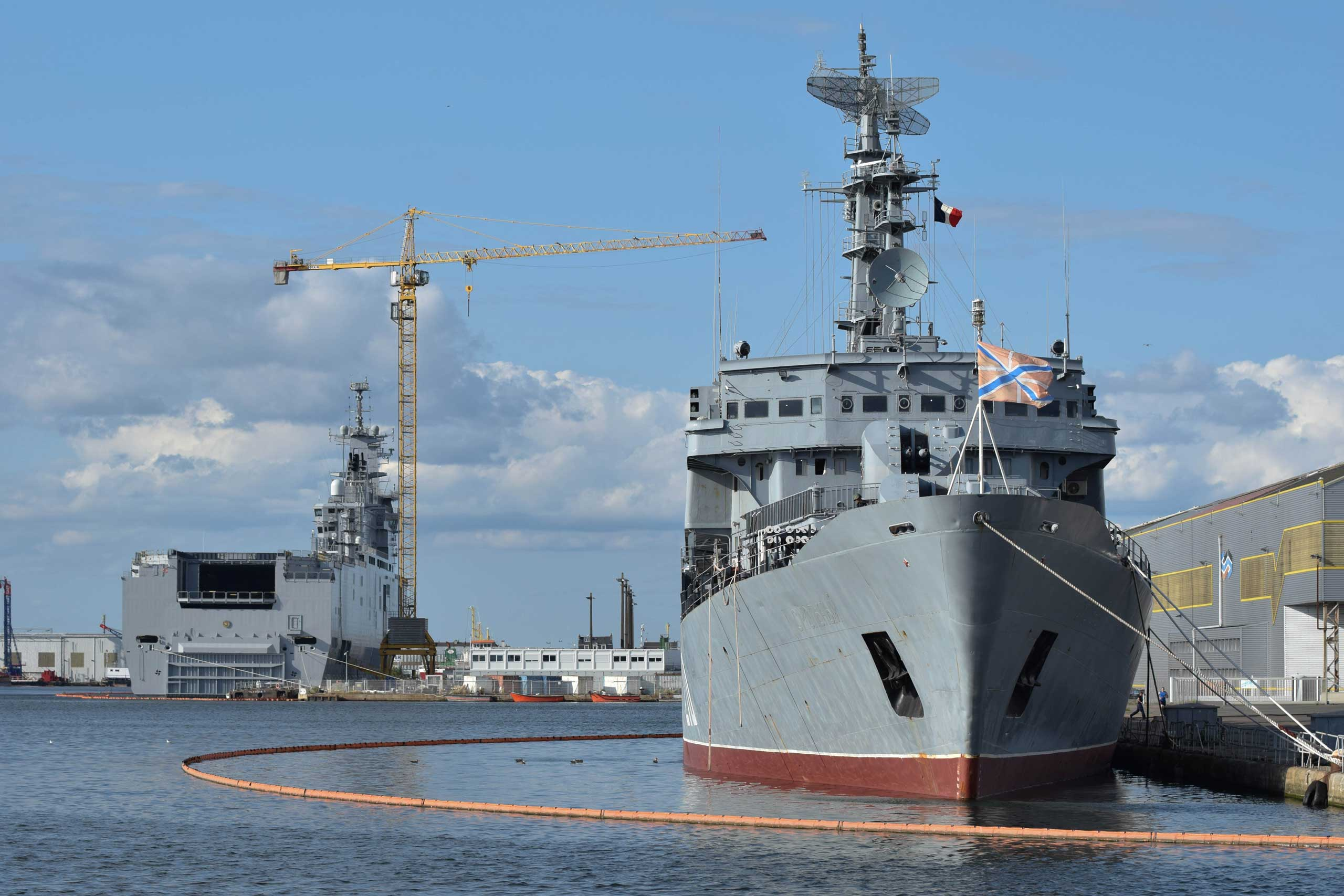 A Mistral-class amphibious assault ship is docked in the shipyard of Saint-Nazaire, Aug. 20, 2014, Saint-Nazaire, France.