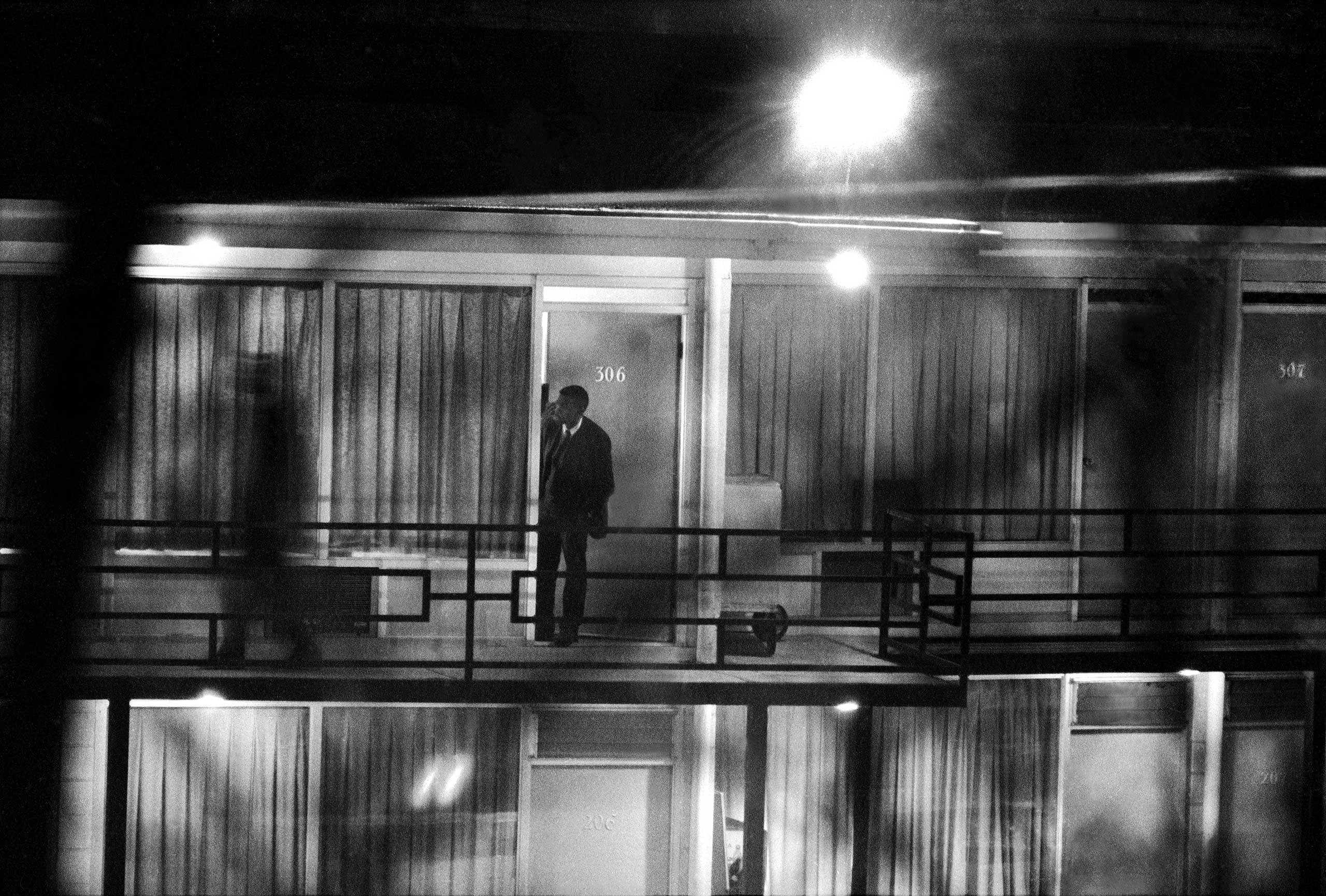 <b>Not published in LIFE.</b> A photo taken through tree branches by Henry Groskinsky from a derelict building across the street from the Lorraine Motel, April 4, 1968, very close to where the shot that killed Dr. King likely came from.