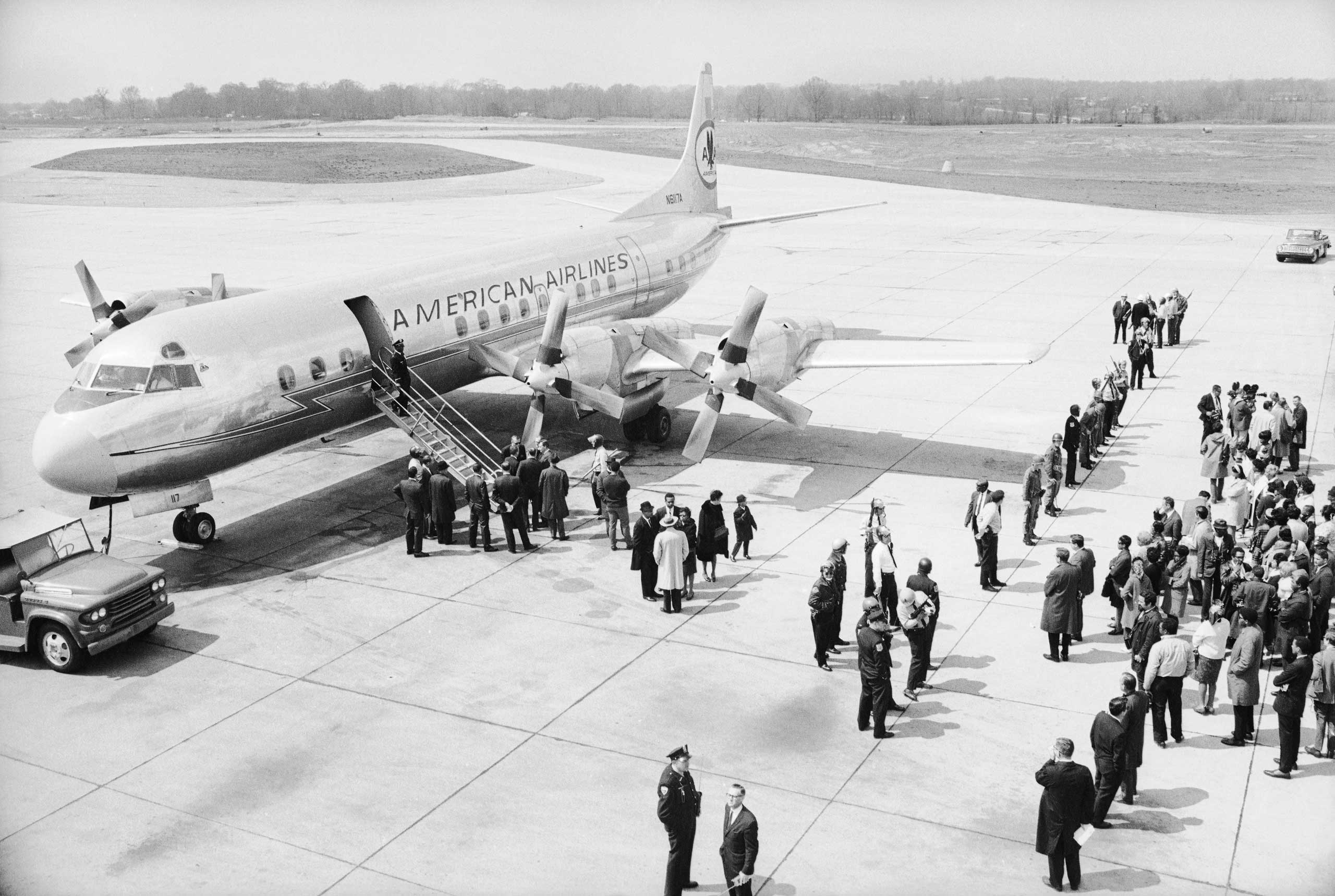 """<b>Not published in LIFE.</b> An airplane dispatched by the U.S. government to retrieve Dr. King's body and return it to Atlanta, Ga., waits on the tarmac in Memphis, Tenn., the day after MLK's assassination. """"Here we were, two white guys in the Deep South right after the murder of the preeminent leader of the black community — voyeurs, in a sense,"""" Groskinsky remembers. """"We were apprehensive about it. But when we got there, there were no big problems for us."""""""