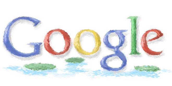 <strong>Nov. 14, 2001 </strong> Google's first doodler, Dennis Hwang, gave the logo an Impressionist look for Claude Monet's birthday.