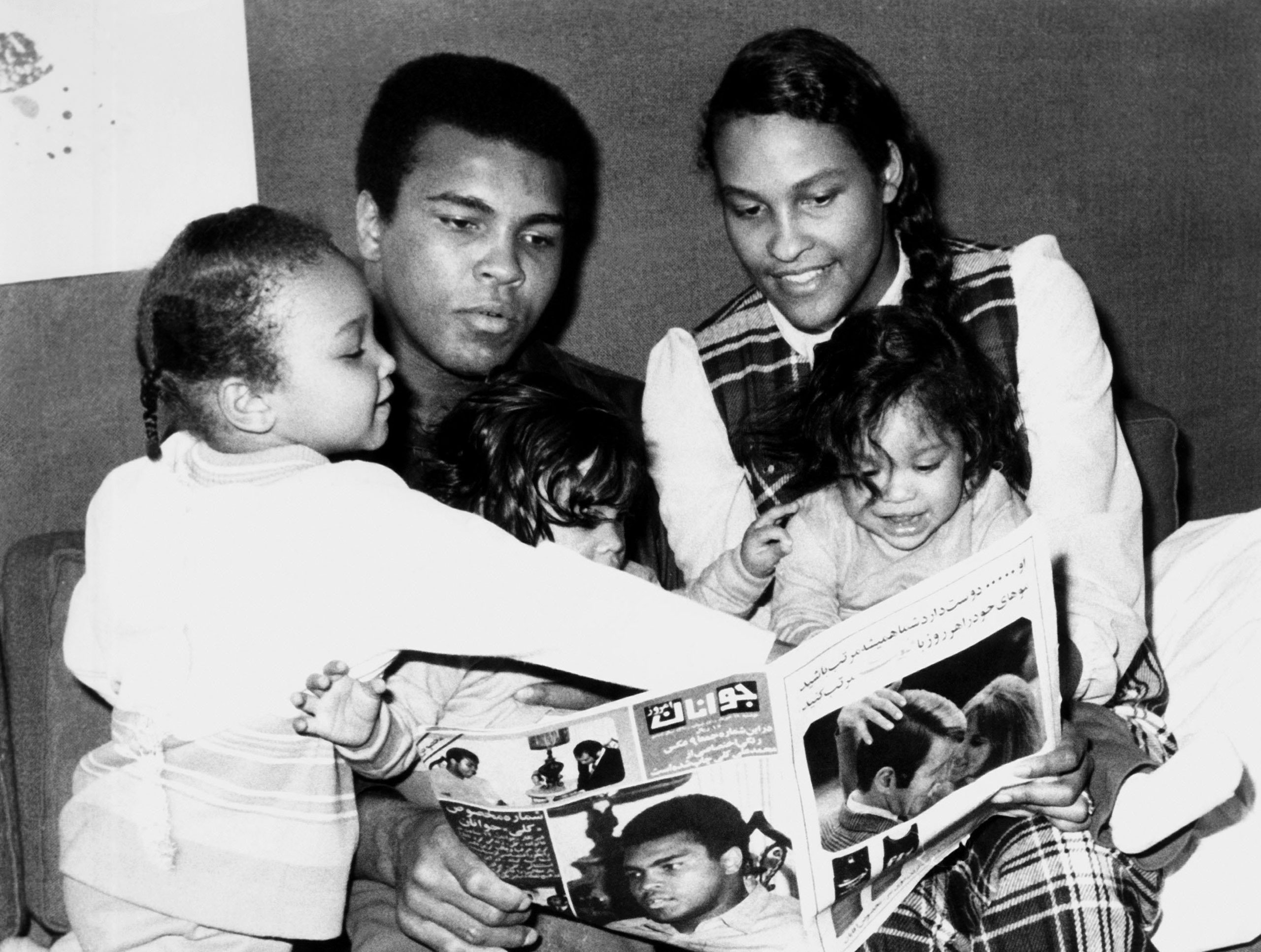 Muhammad Ali with his second wife, Belinda Boyd, and their children, daughter Maryum and twins Jamillah and Rasheda, in 1971.