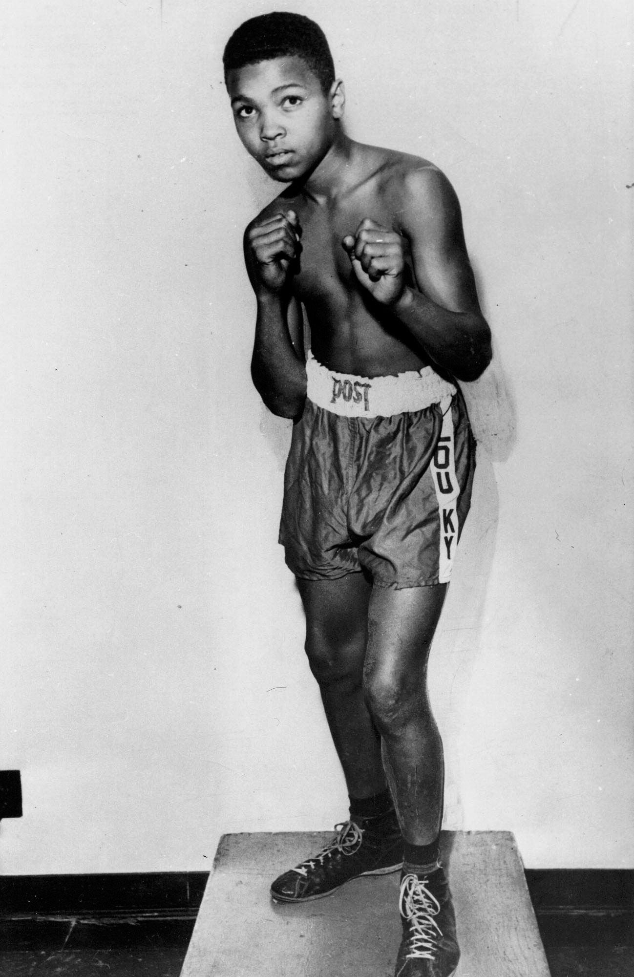 Cassius Clay, who would change his name to Muhammad Ali, at 12 years old.