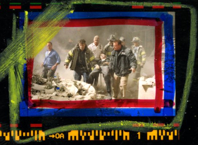 Roll #6, exposure #1 showing an image of first responders carrying the body of Fr. Mychal Judge on 9/11.