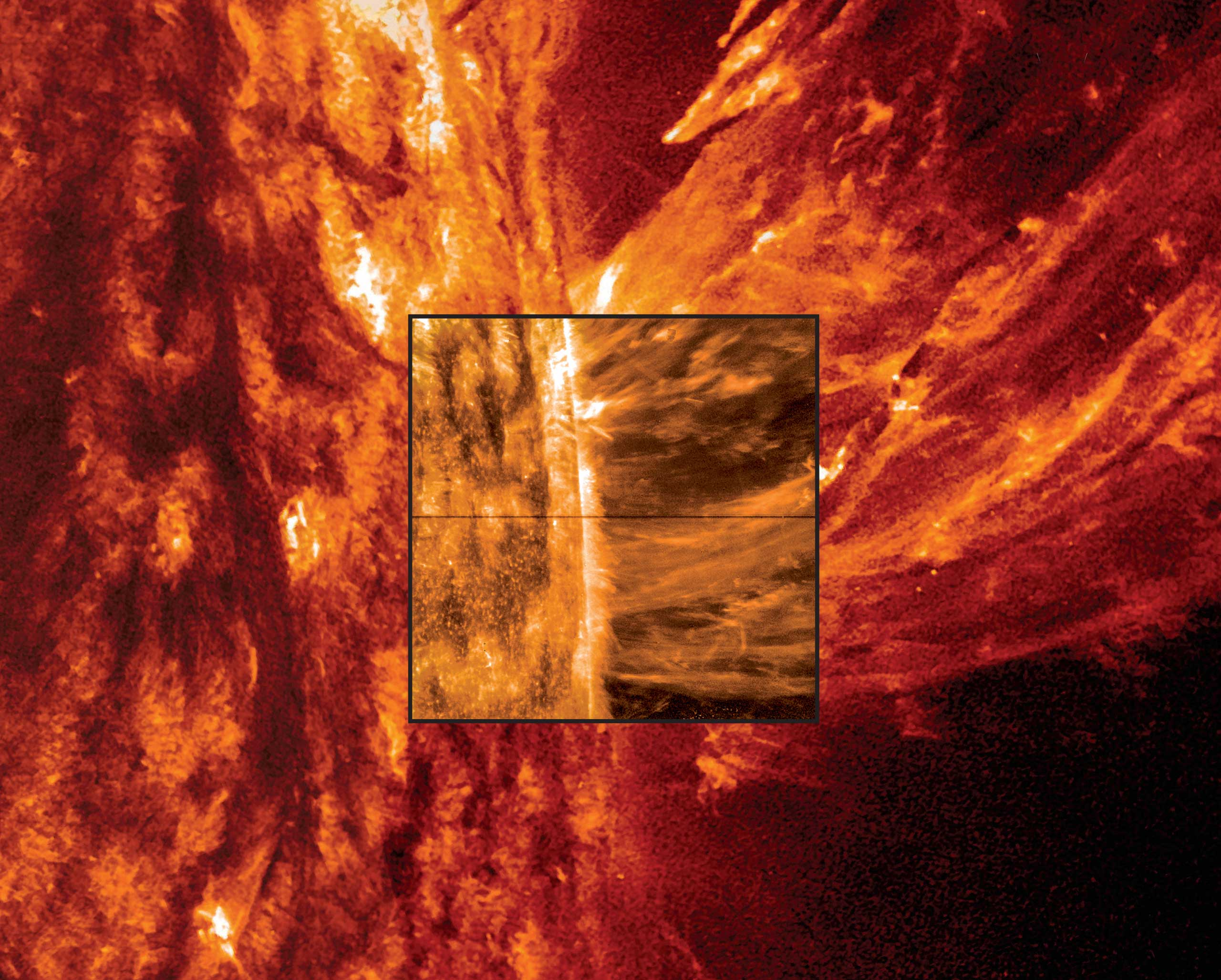 NASA's Solar Dynamics Observatory provided the outer image of a coronal mass ejection on the surface of the sun on May 9, 2014.
