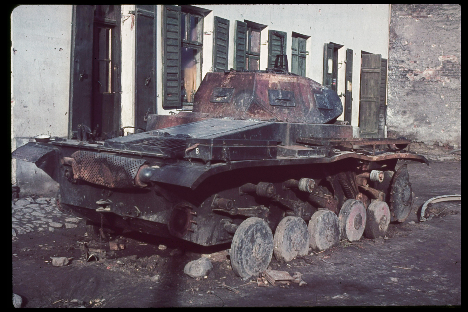 Burned-out tank, Warsaw, 1939.