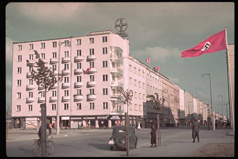 Street scene following the German invasion of Poland, 1939.