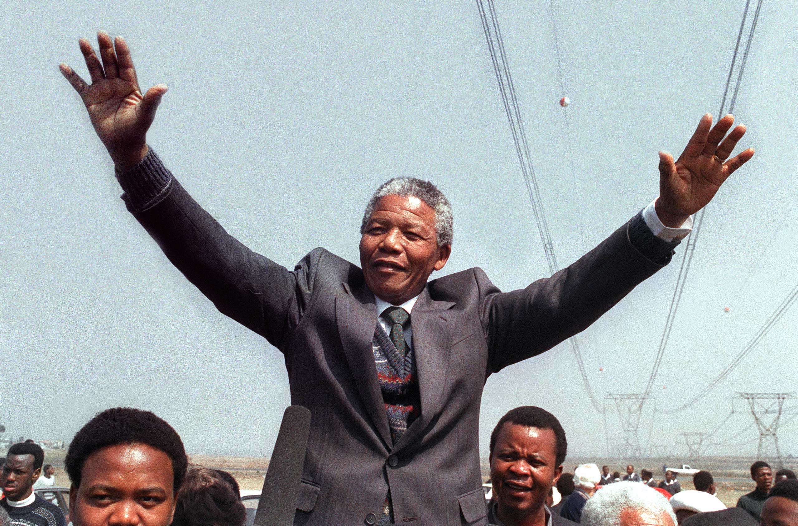 """<b>Nelson Mandela, 1993</b>Shared with Frederik Willem de Klerk """"for their work for the peaceful termination of the apartheid regime, and for laying the foundations for a new democratic South Africa"""""""