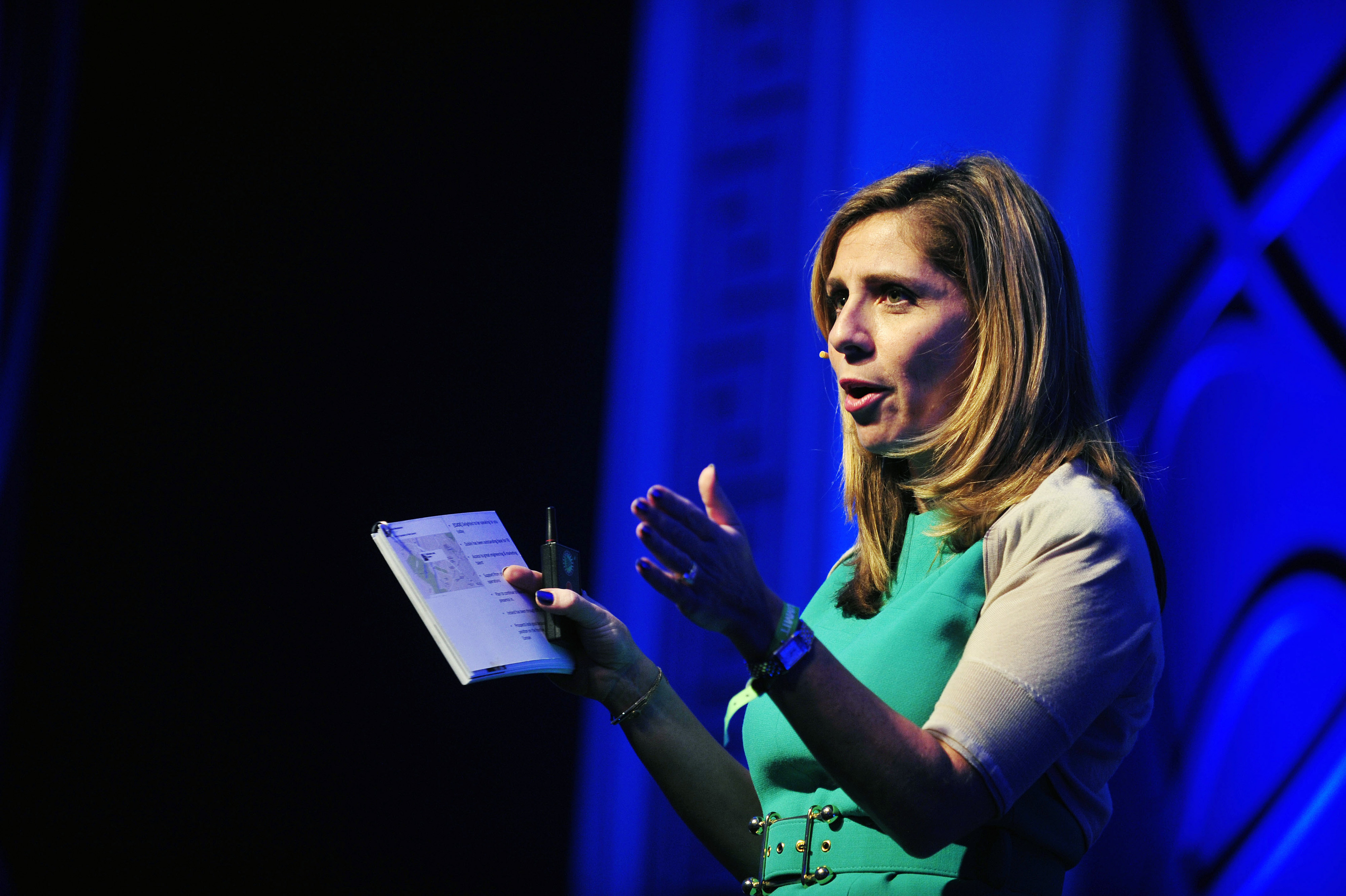 Nicola Mendelsohn, vice president for EMEA at Facebook Inc., gestures as she addresses delegates during the Dublin Web Summit in Dublin on Oct. 30, 2013.
