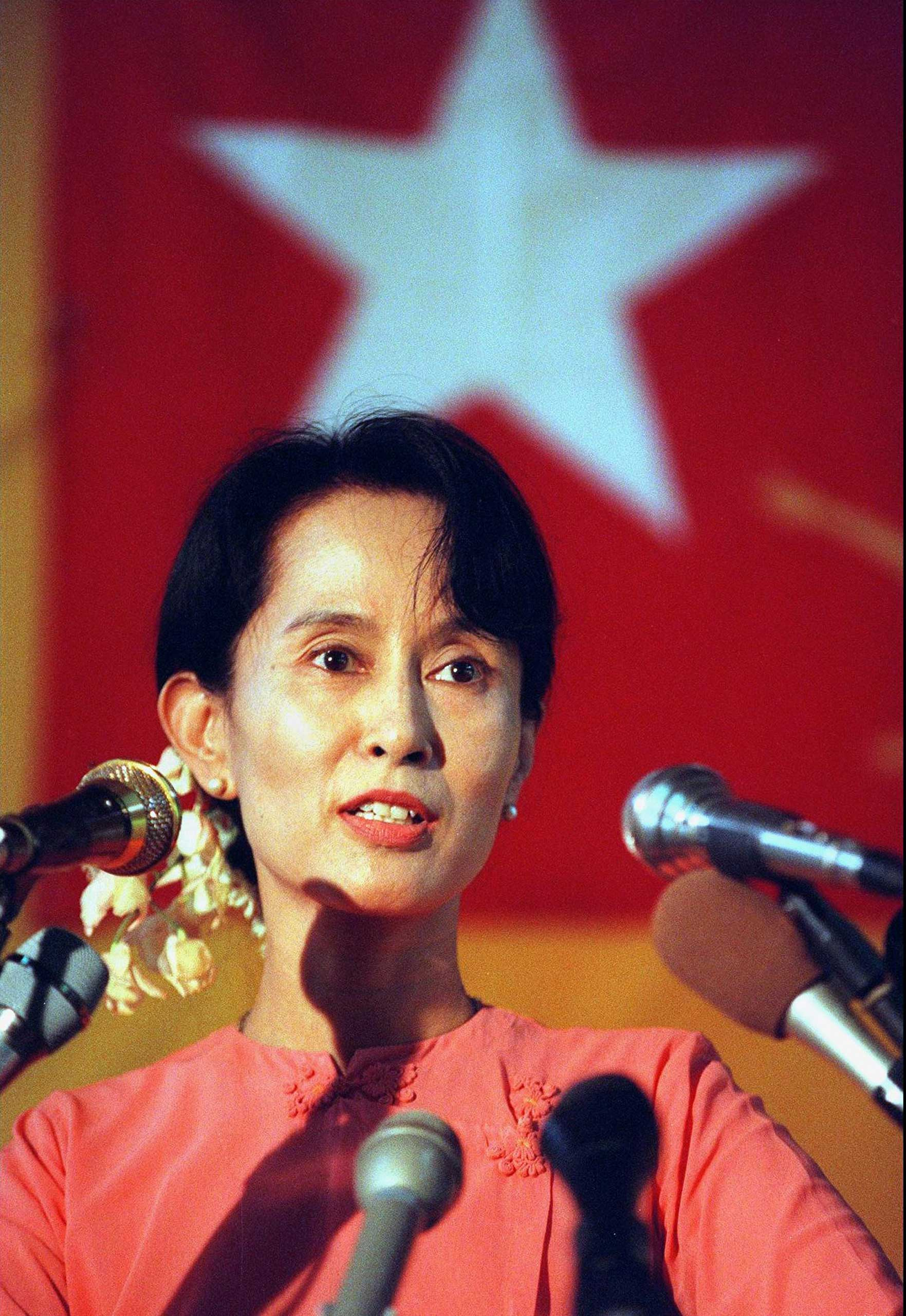 """<b>Aung San Suu Kyi, 1991</b>""""For her non-violent struggle for democracy and human rights"""""""