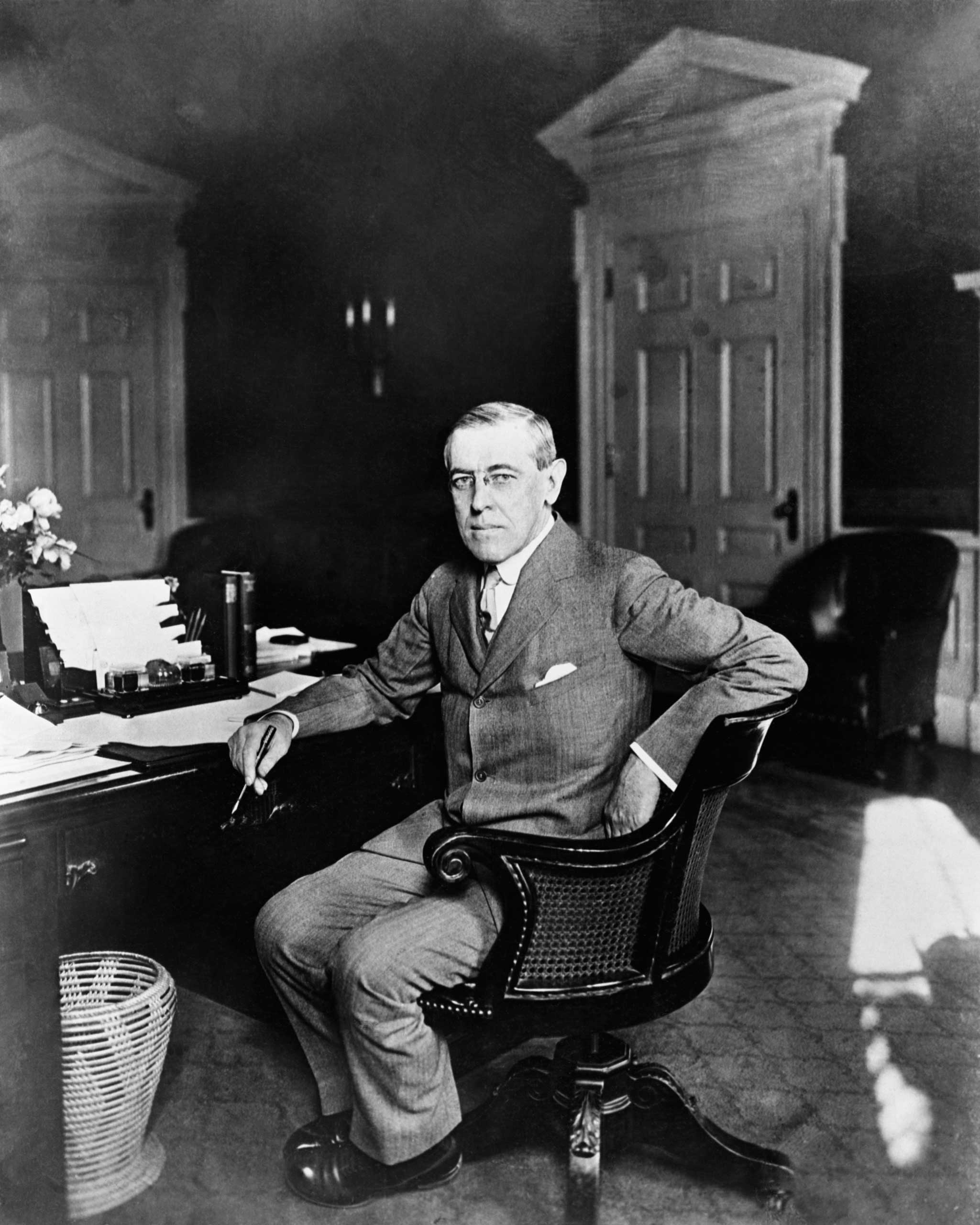 """<b>Woodrow Wilson, 1919</b>""""[F]or his crucial role in establishing the League of Nations"""""""