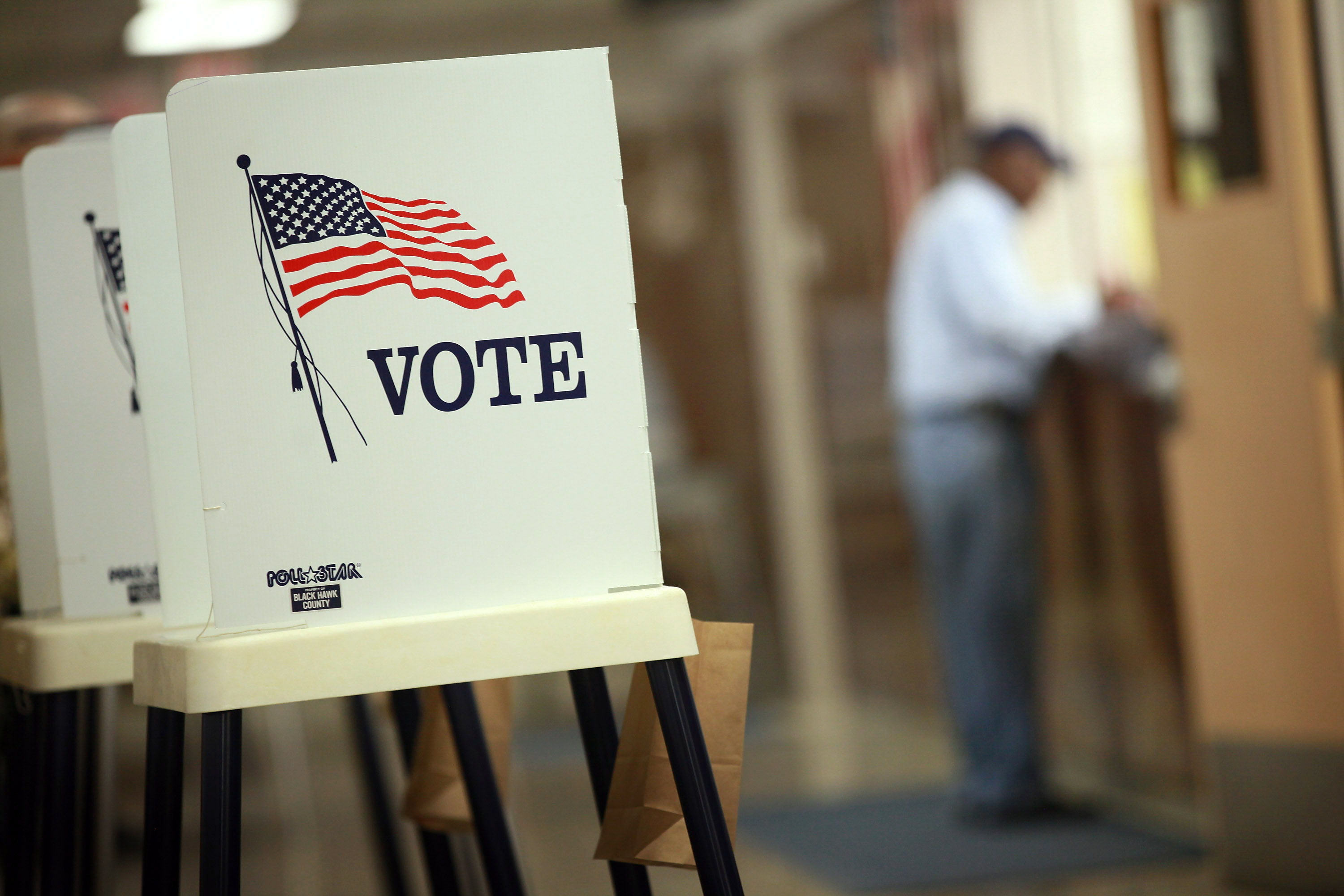 Voting booths are set up for early voting at the Black Hawk County Courthouse on September 27, 2012 in Waterloo, Iowa.